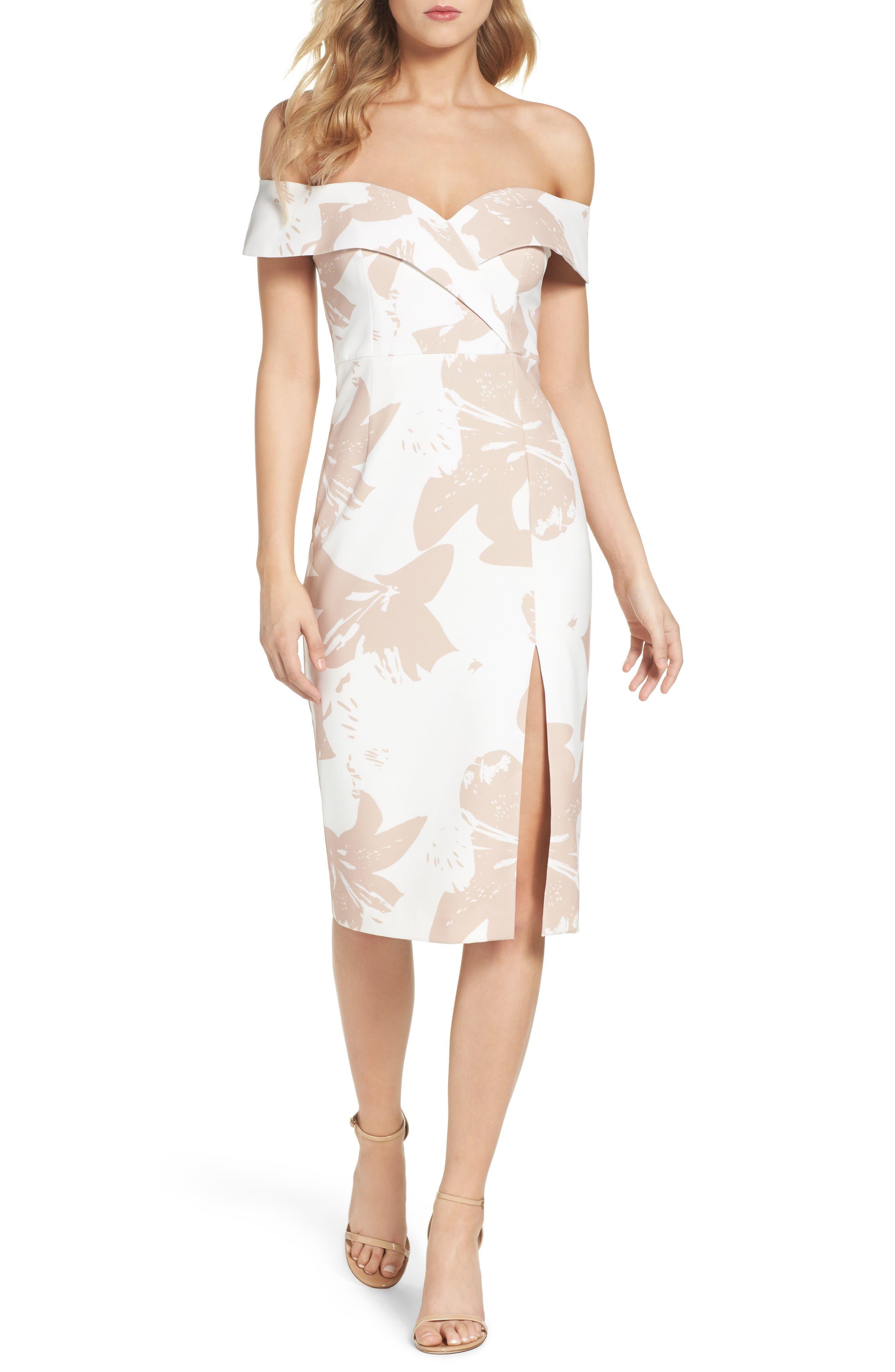 Bardot Bella Off the Shoulder Midi Dress