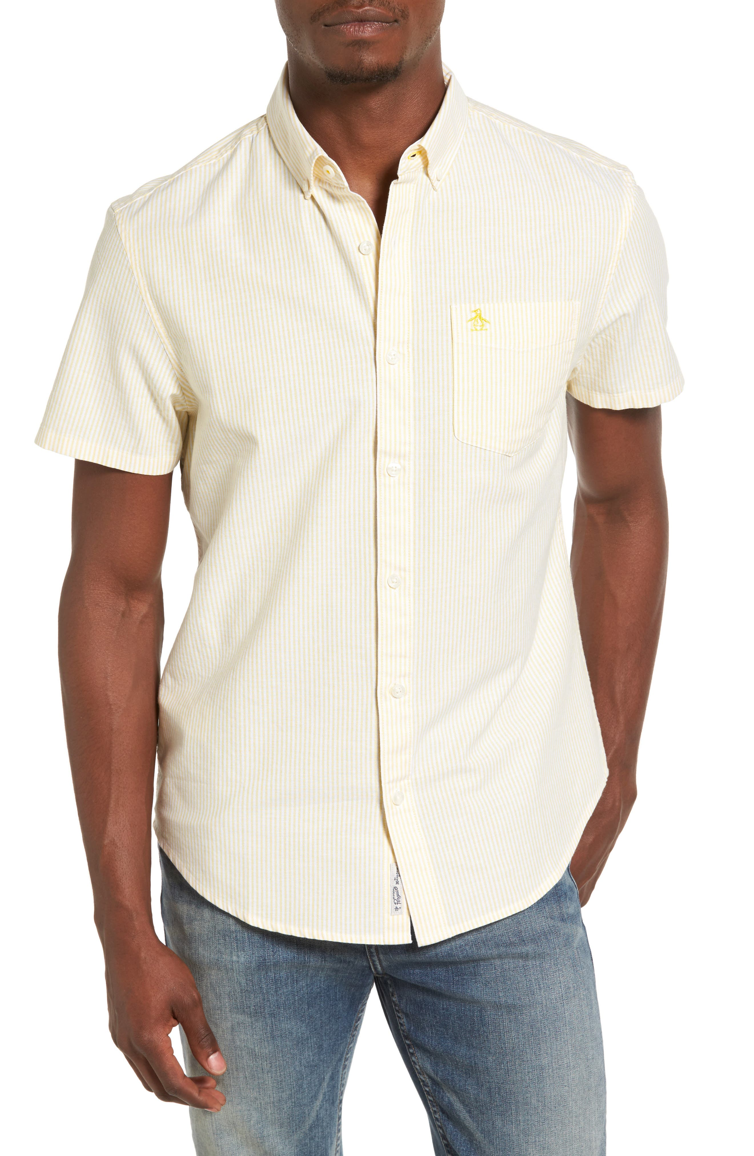 Original Penguin Stripe Short Sleeve Oxford Shirt