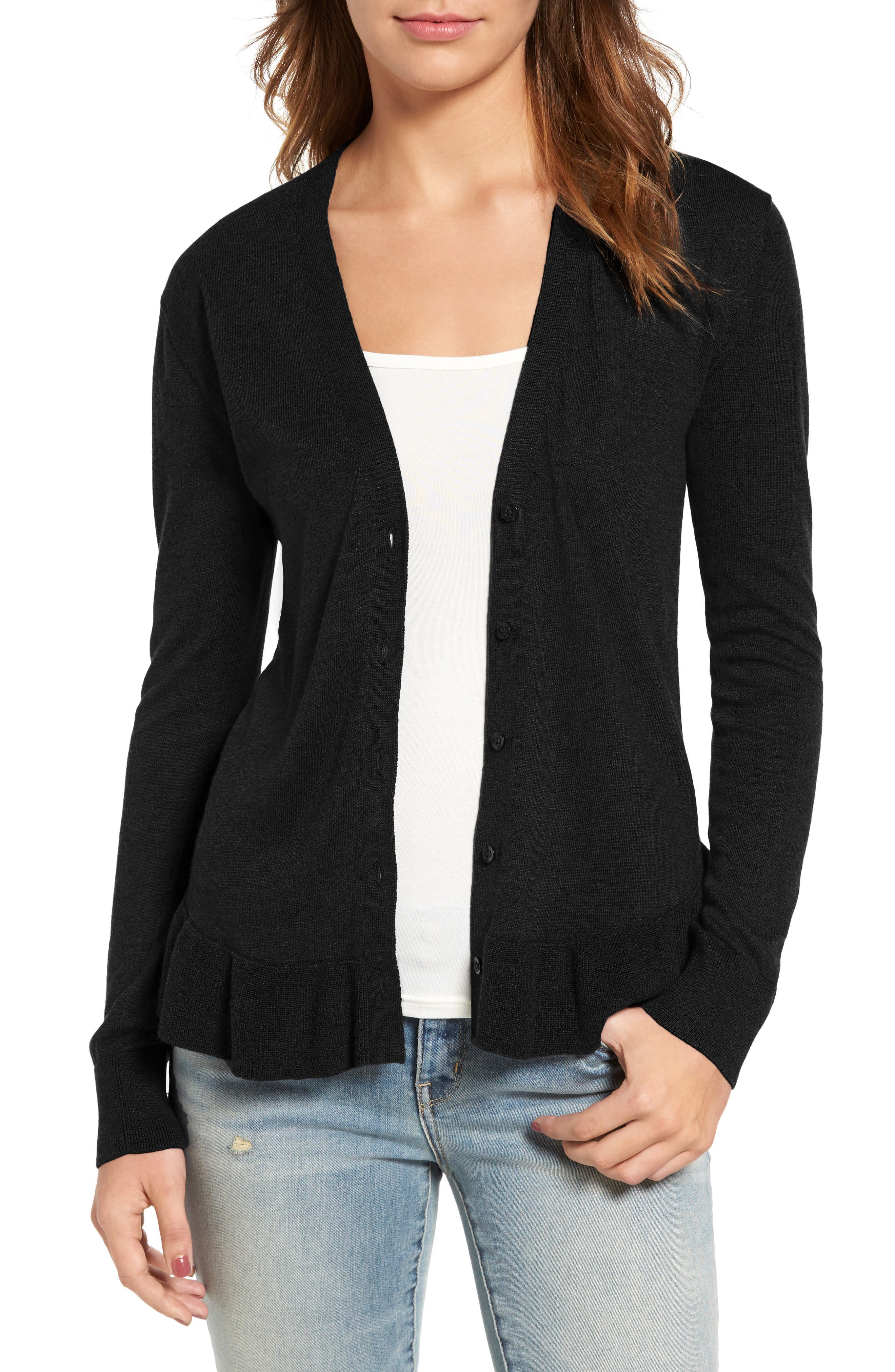 Alternate Image 1 Selected - Hinge Ruffle Hem Cardigan
