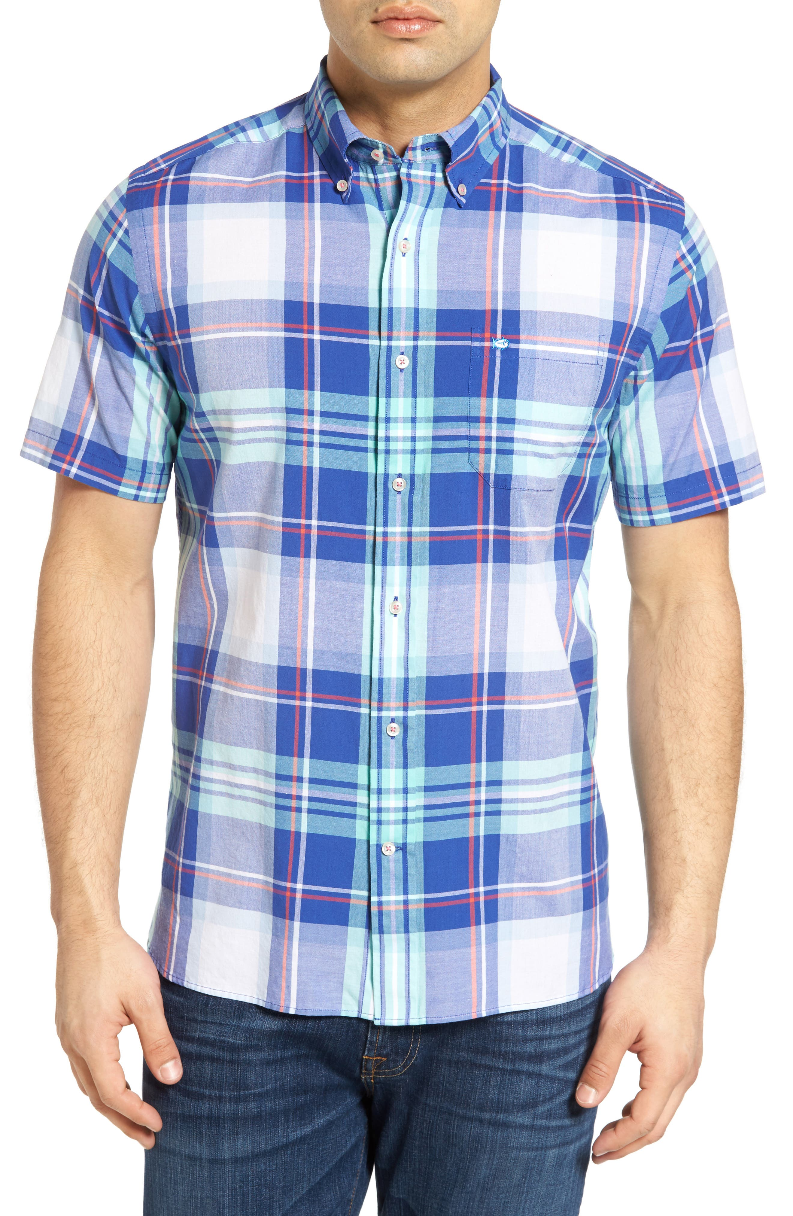 Southern Tide Magnolia Classic Fit Plaid Short Sleeve Sport Shirt