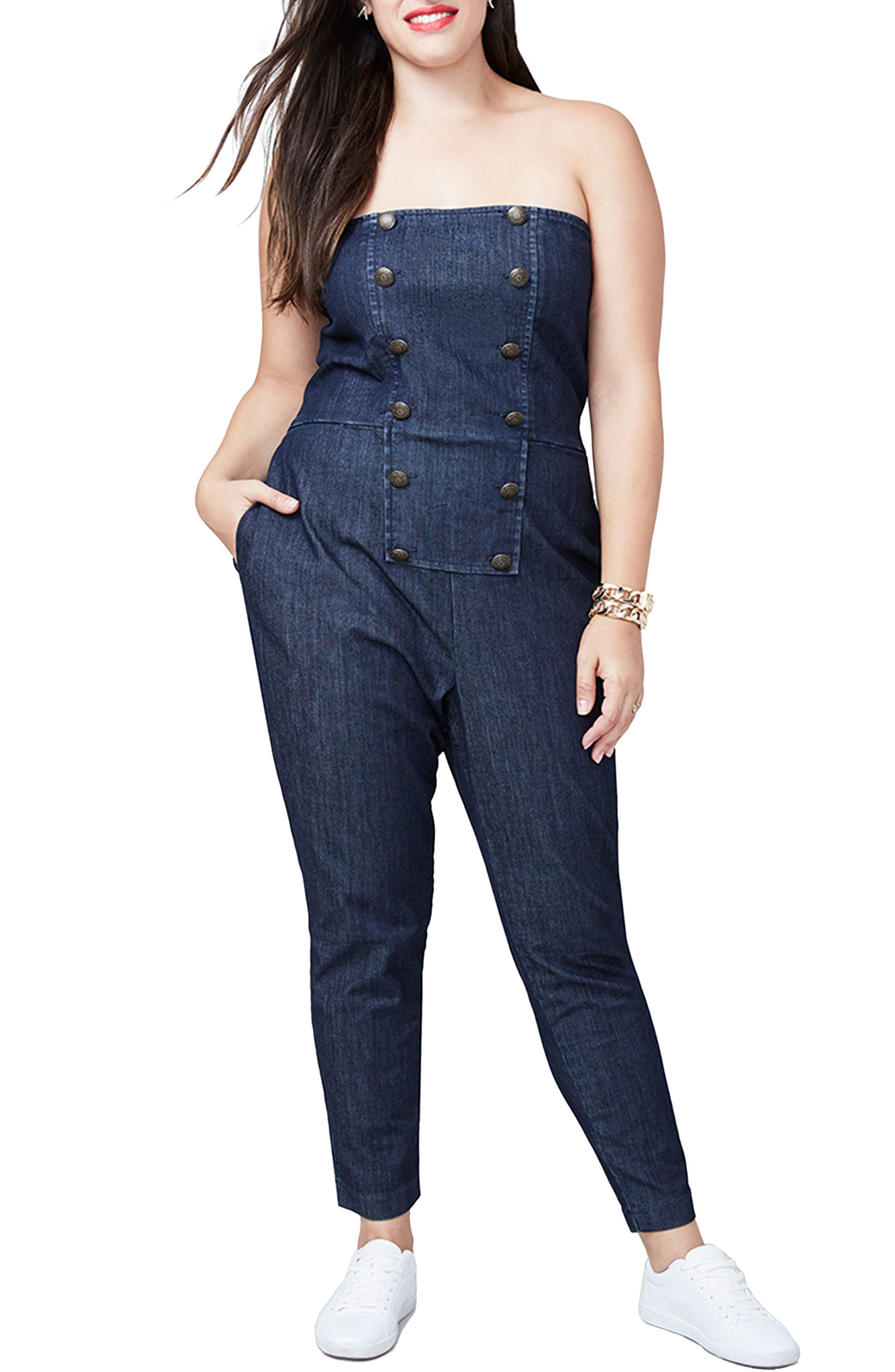 RACHEL Rachel Roy Strapless Denim Jumpsuit (Plus Size)