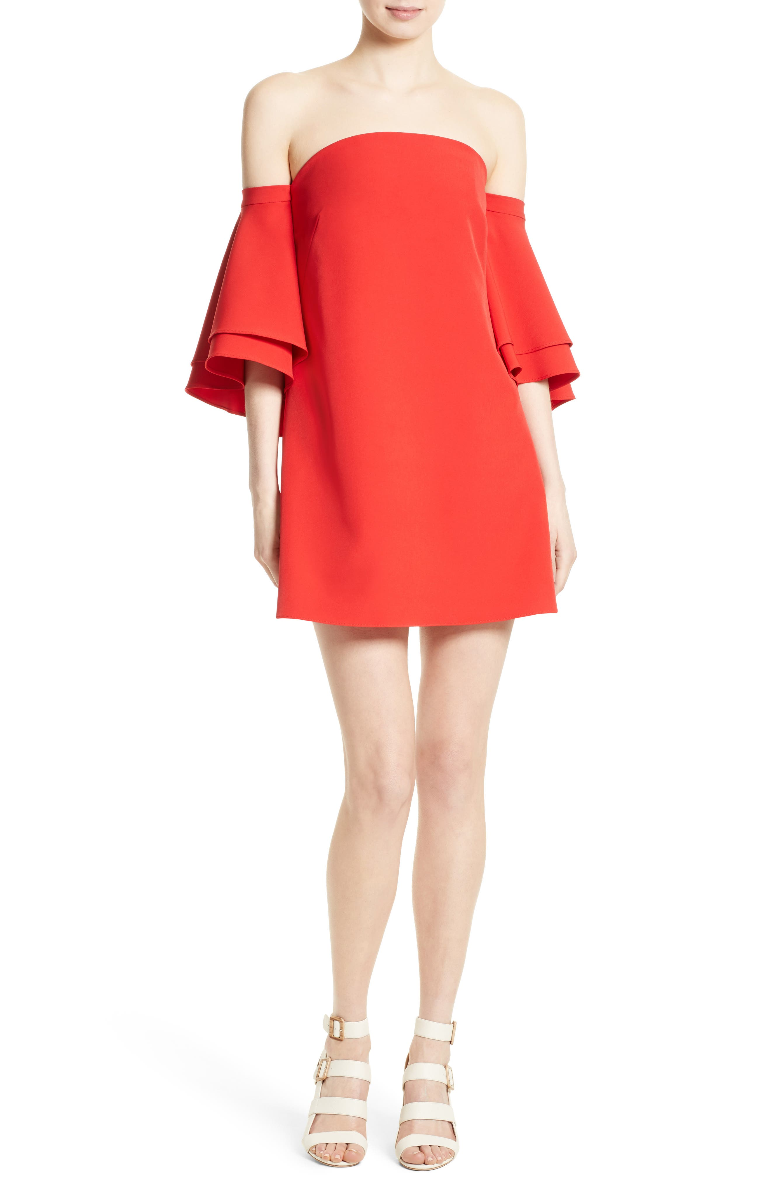 Milly Mila Cady Off the Shoulder Trapeze Dress