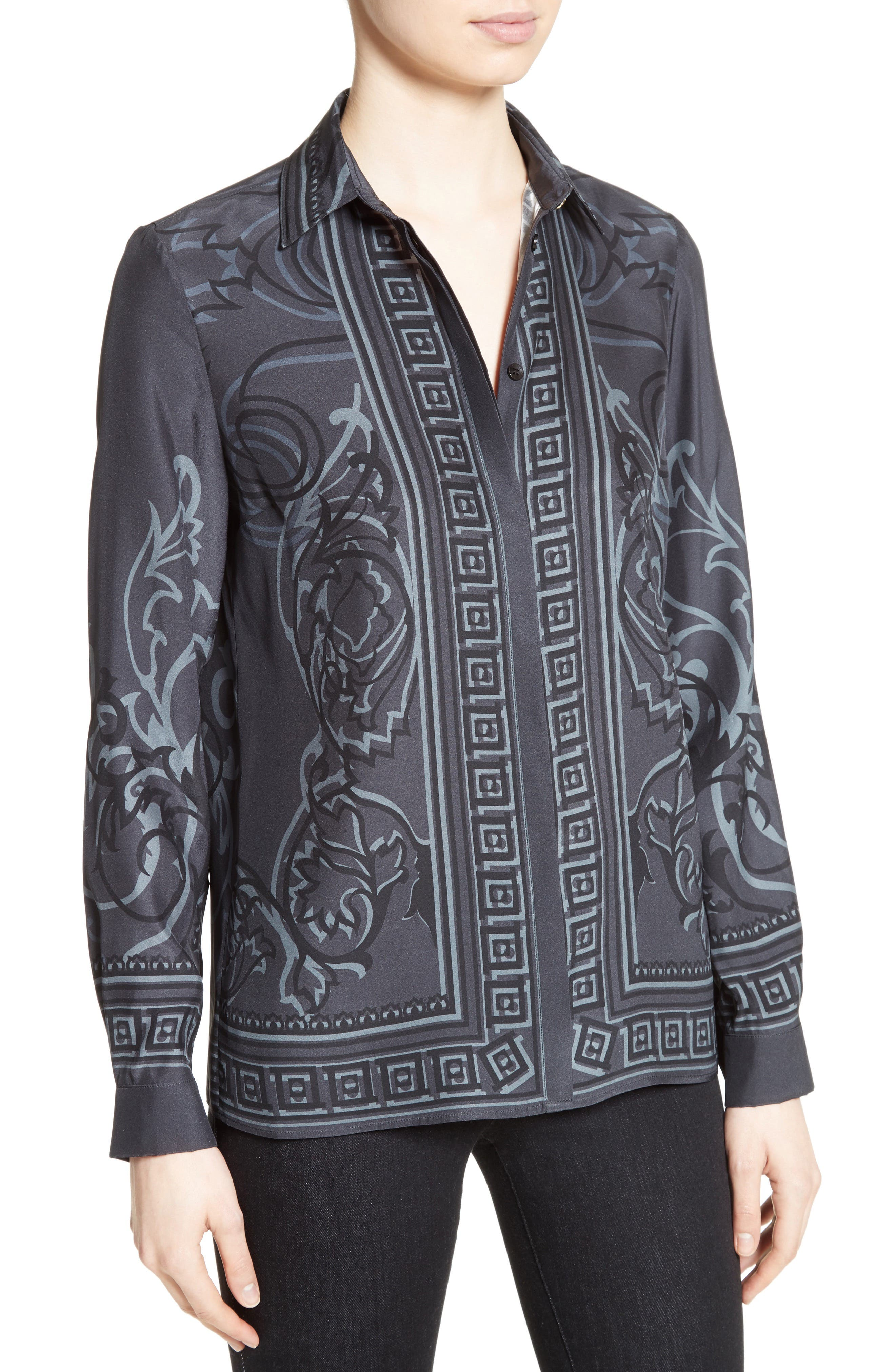 Alternate Image 6  - Versace Collection Baroque Print Silk Blouse