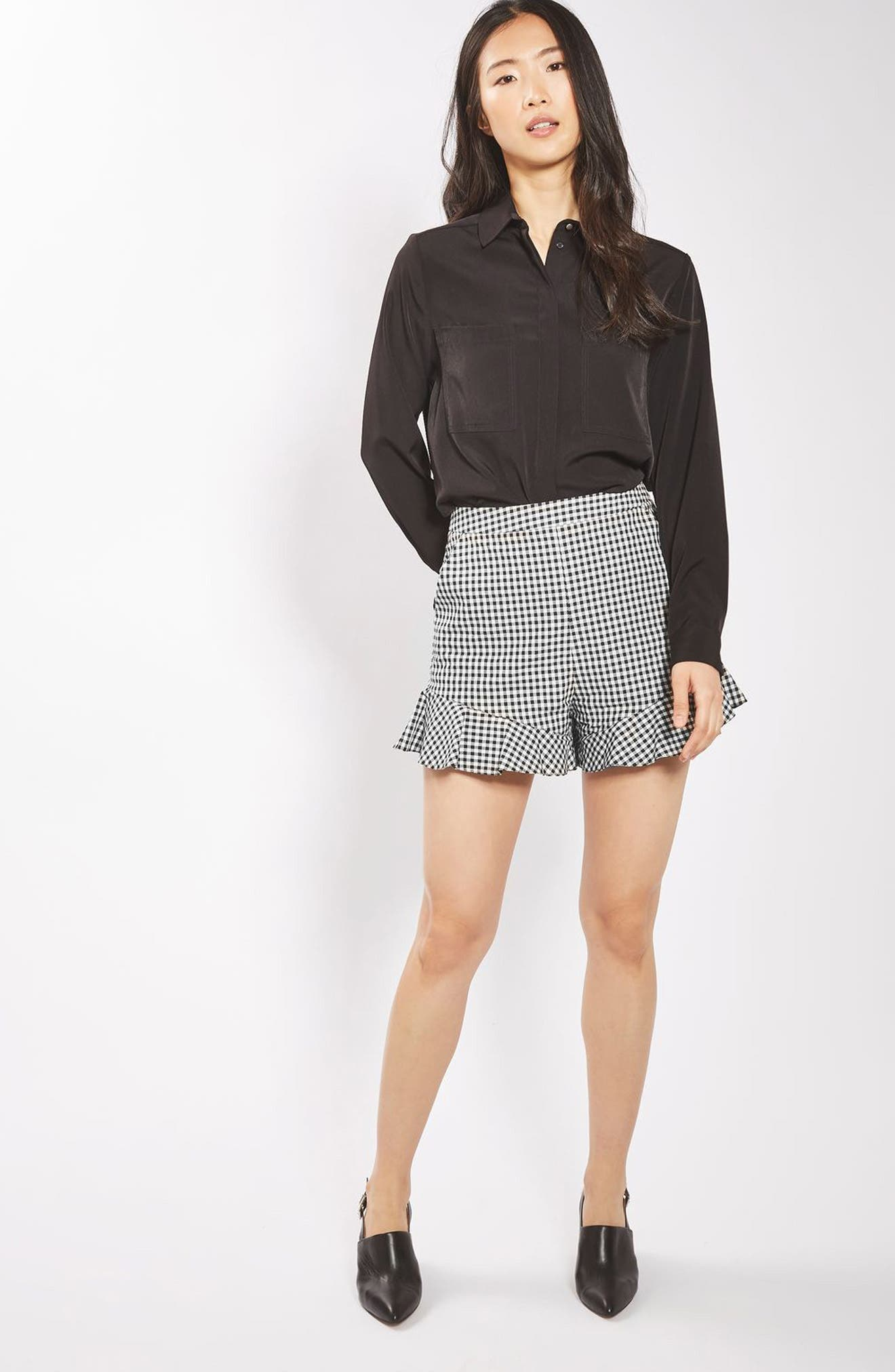 Alternate Image 2  - Topshop Gingham Frill Shorts