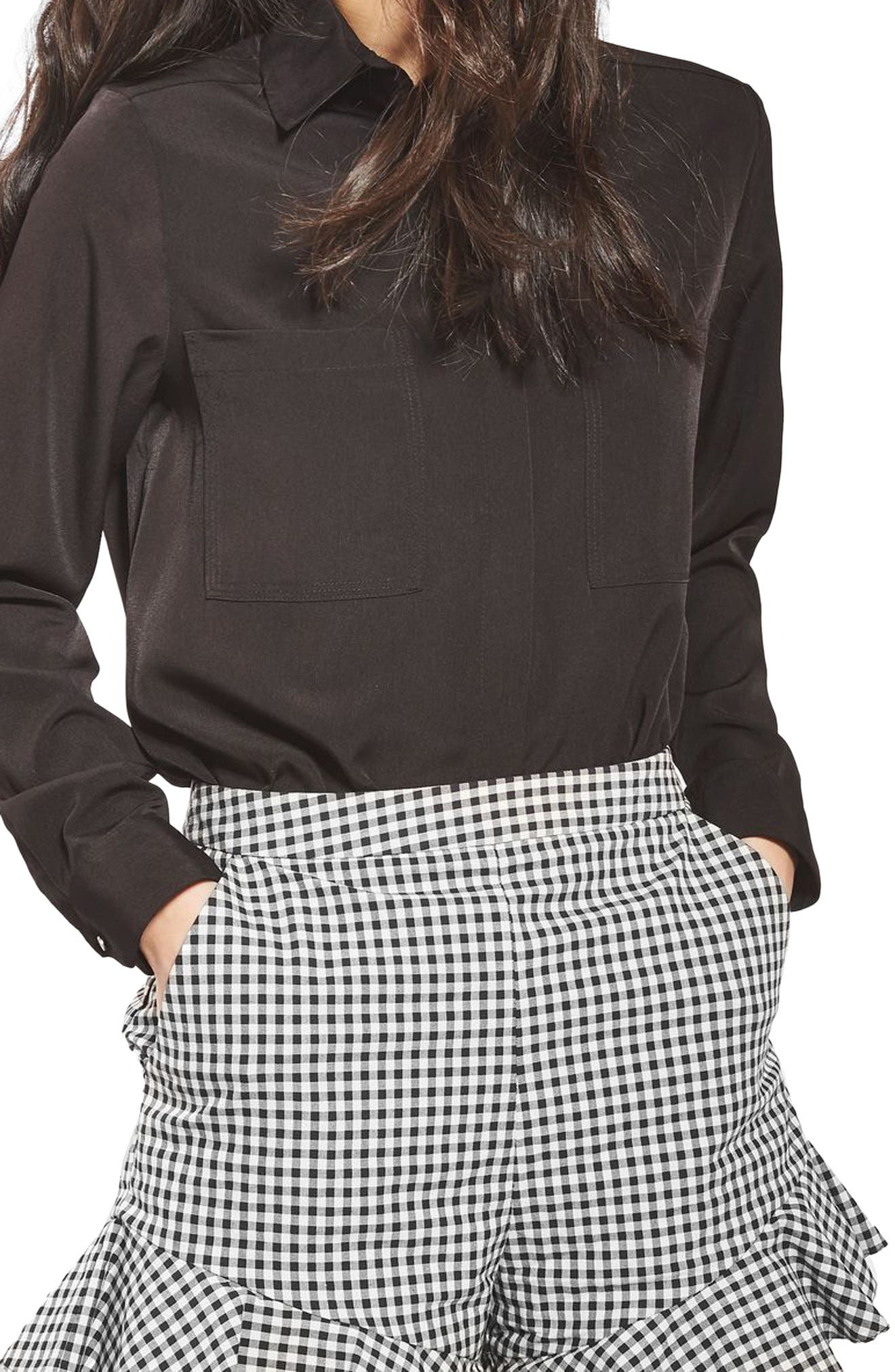 Alternate Image 4  - Topshop Gingham Frill Shorts