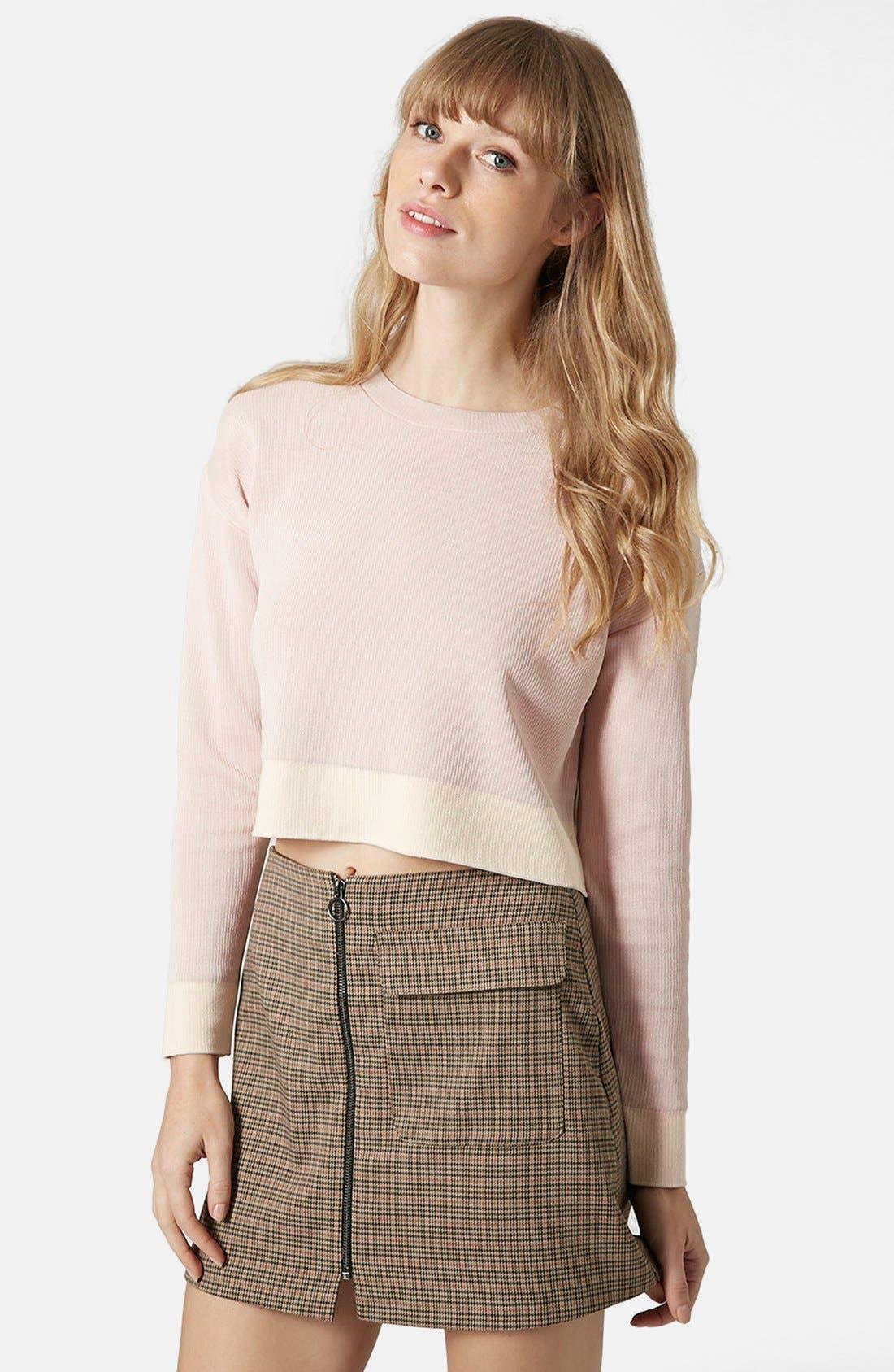Alternate Image 1 Selected - Topshop Ribbed Crop Sweater