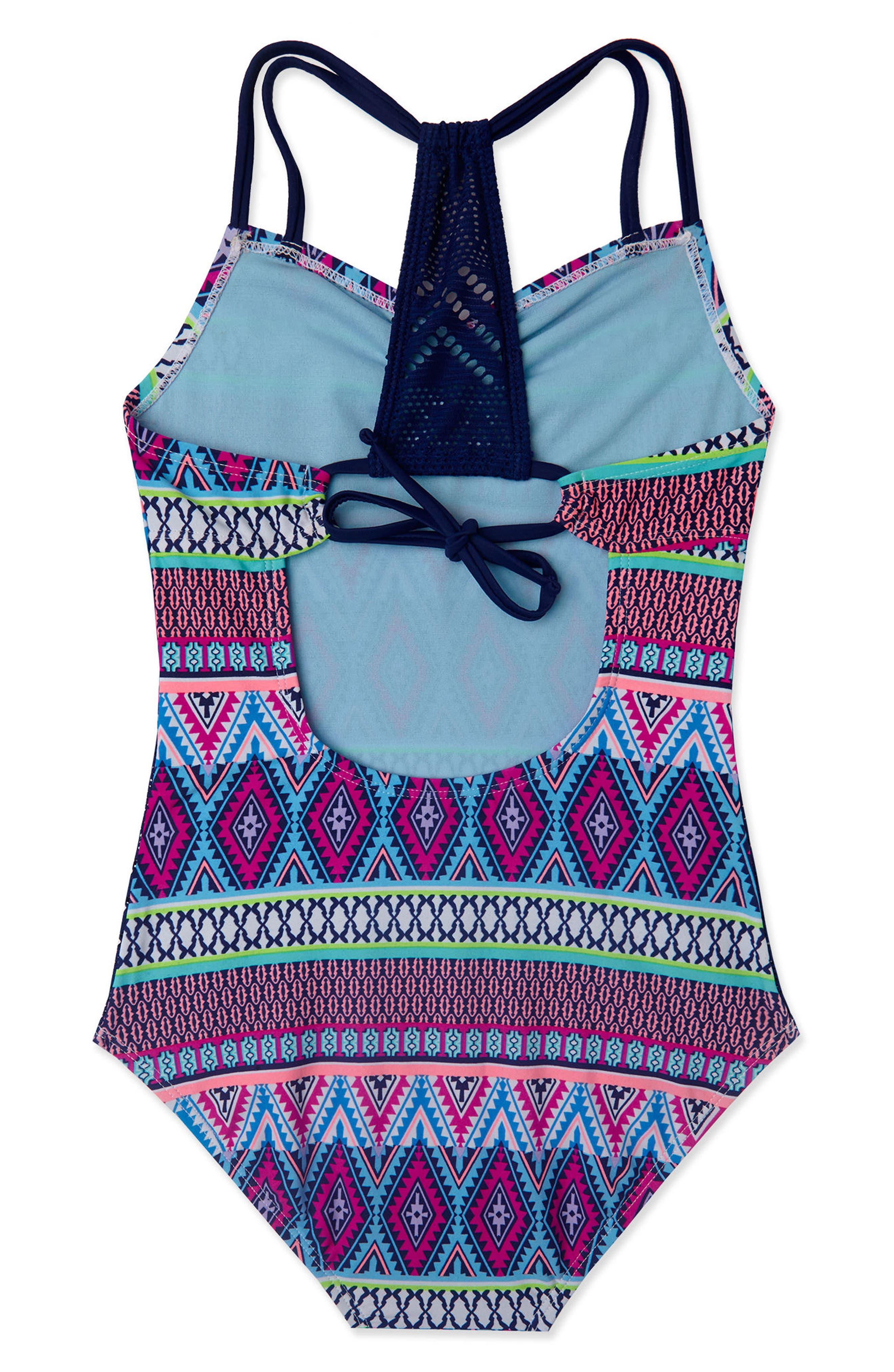 Alternate Image 4  - Gossip Girl Stripe Fusion One-Piece Swimsuit (Big Girls)