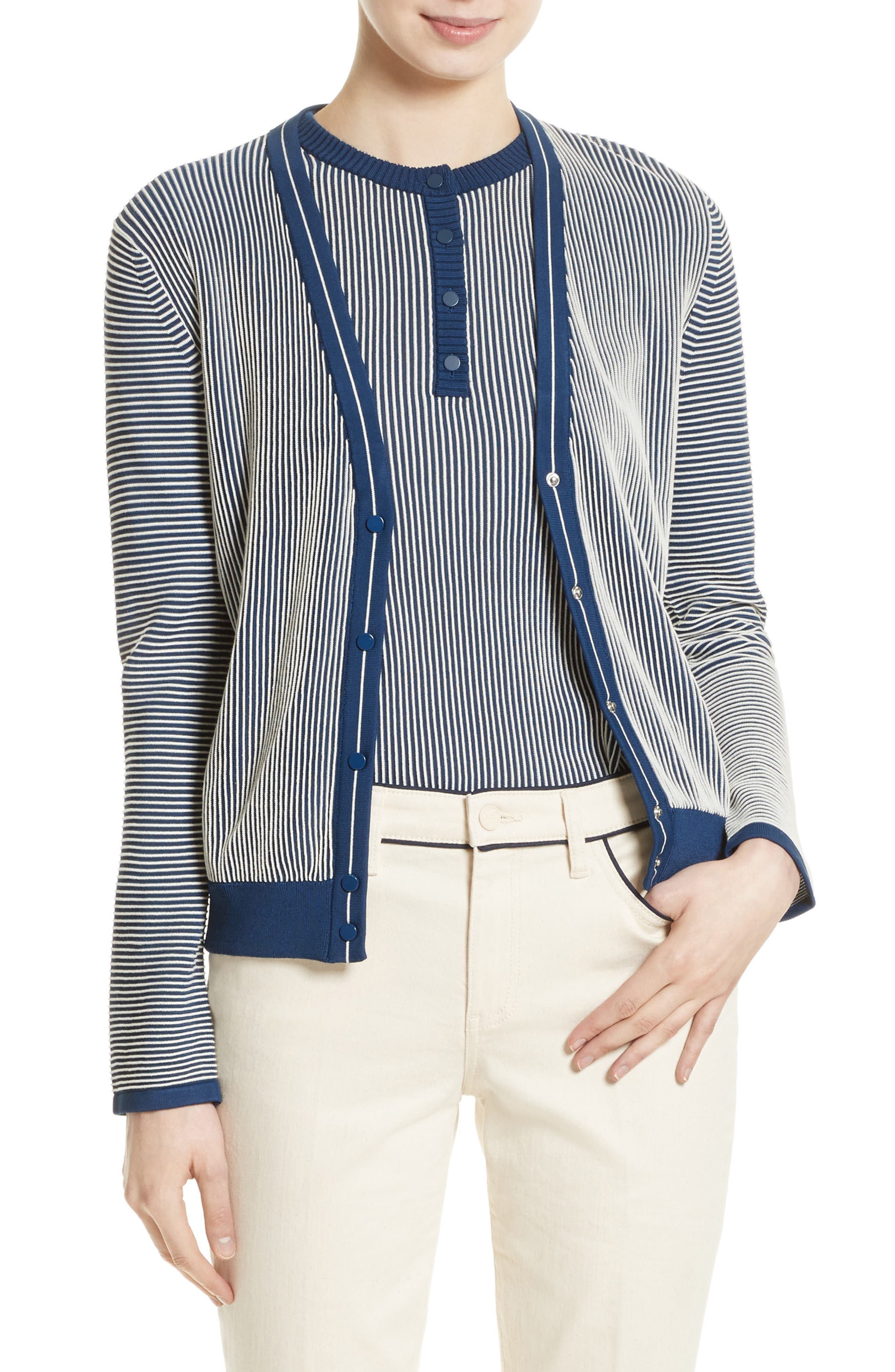 Tory Burch Kara Stripe Cardigan
