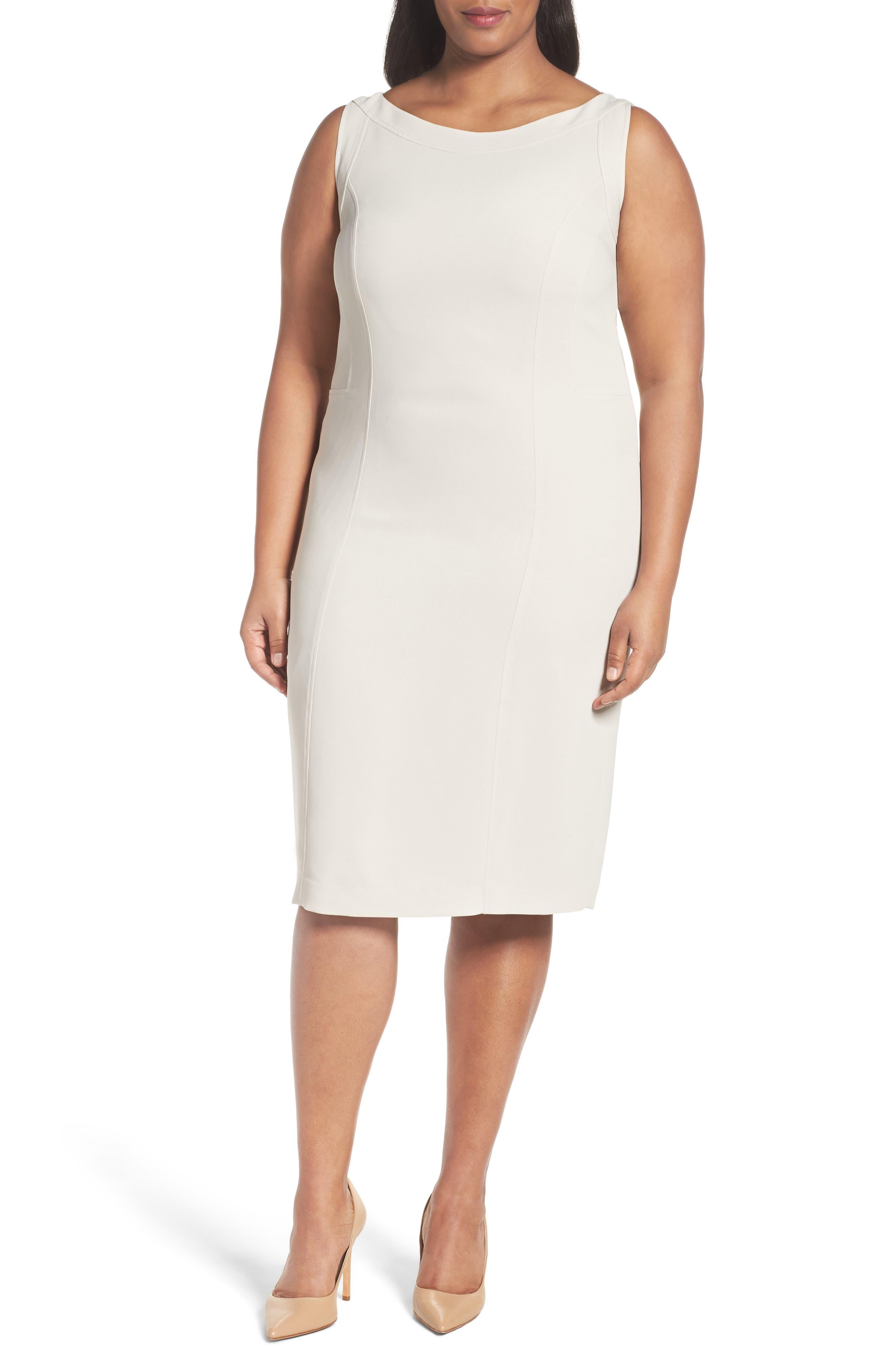 Louben Sleeveless Suiting Sheath Dress (Plus Size)