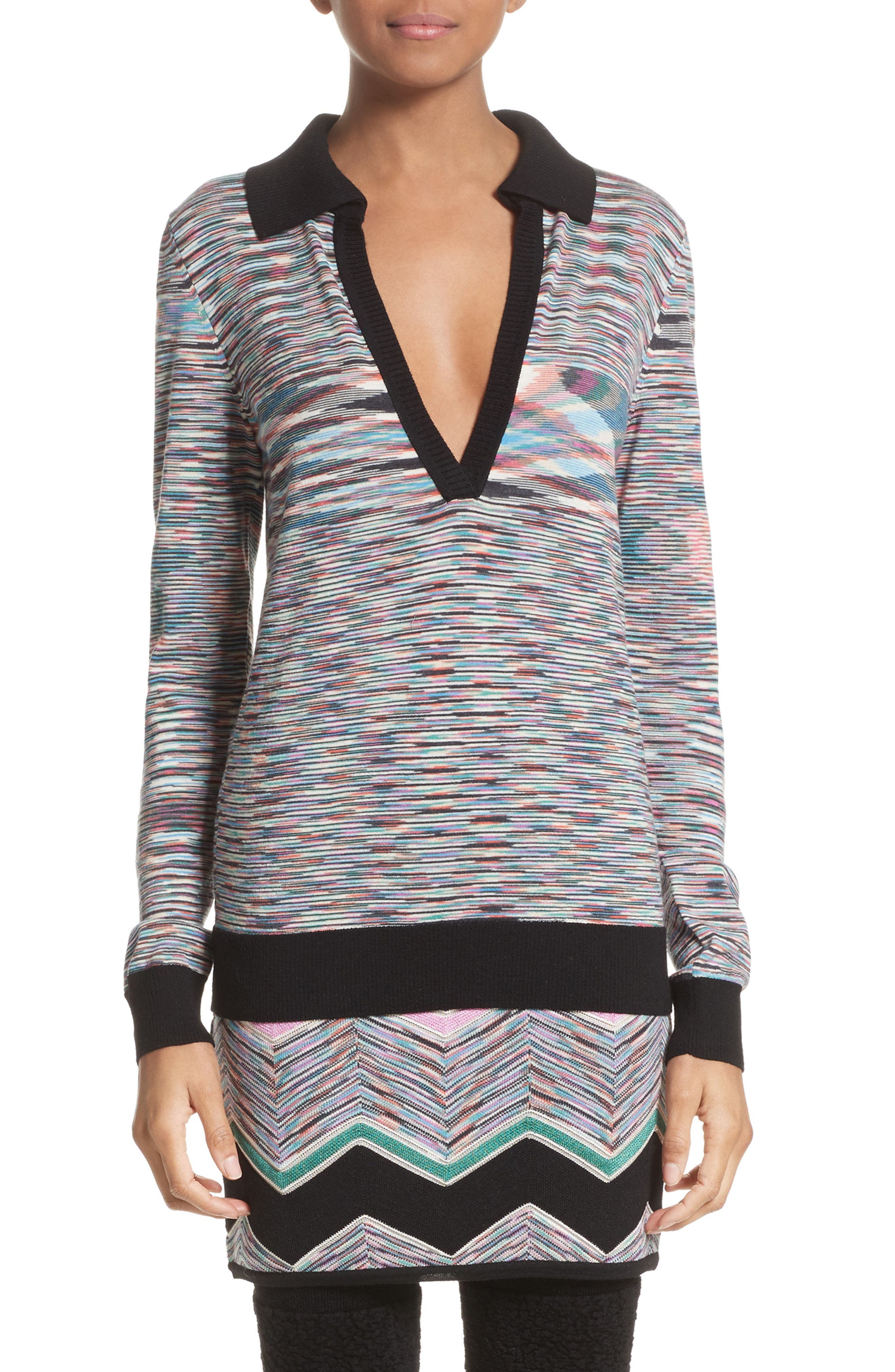 Missoni Space Dye Wool Blend Polo Sweater