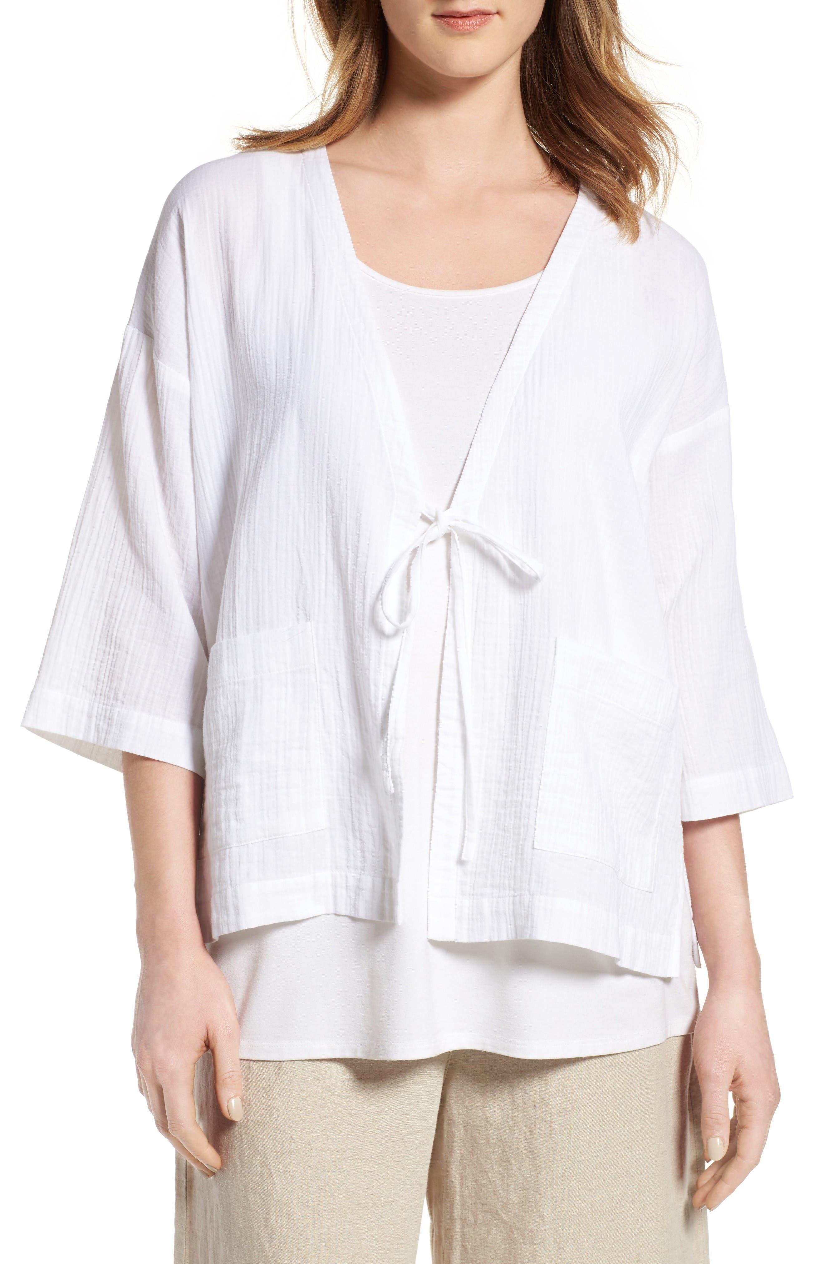 Eileen Fisher Organic Cotton Kimono Jacket (Regular & Petite)
