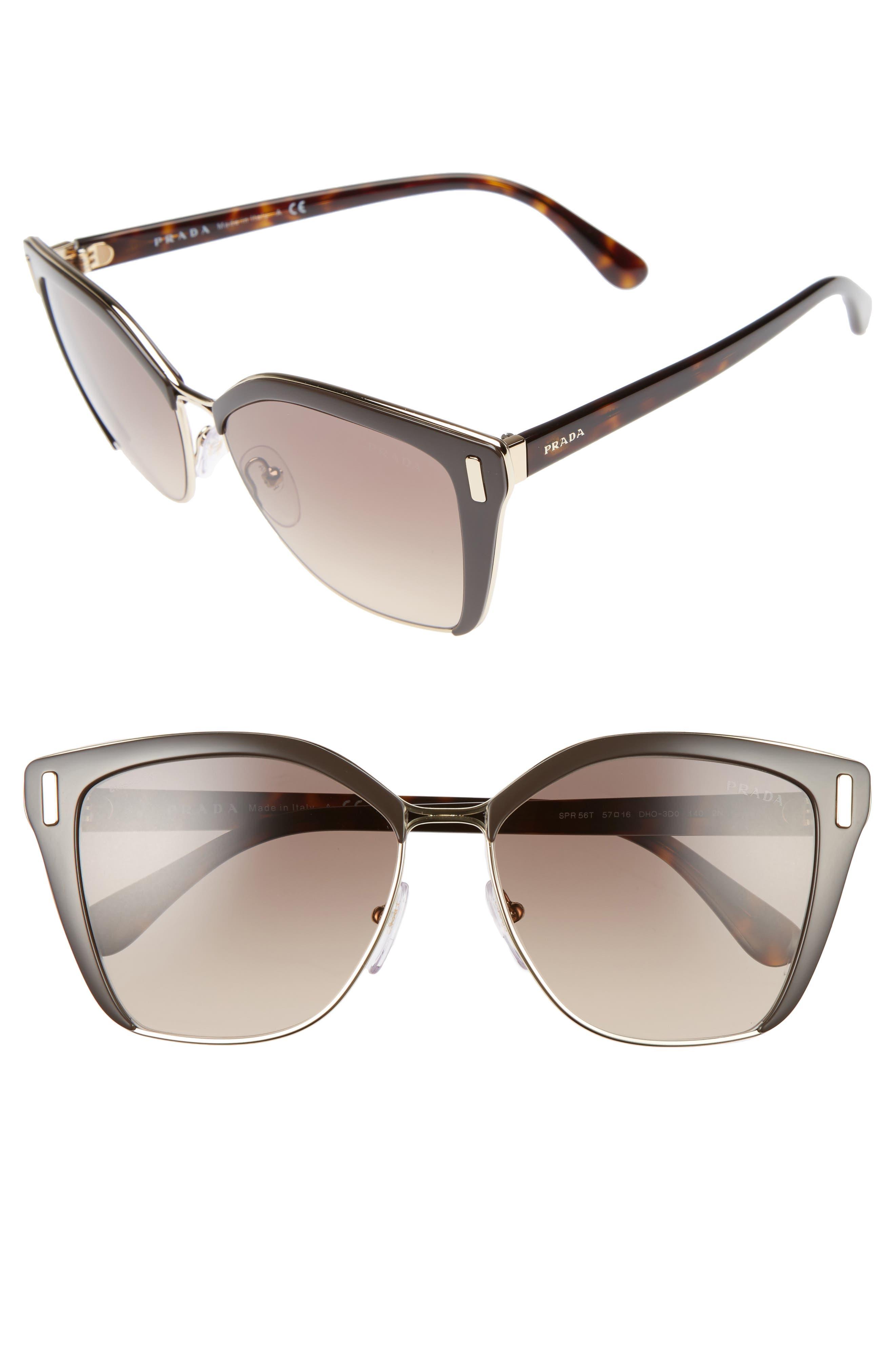 Prada 57mm Gradient Geometric Sunglasses