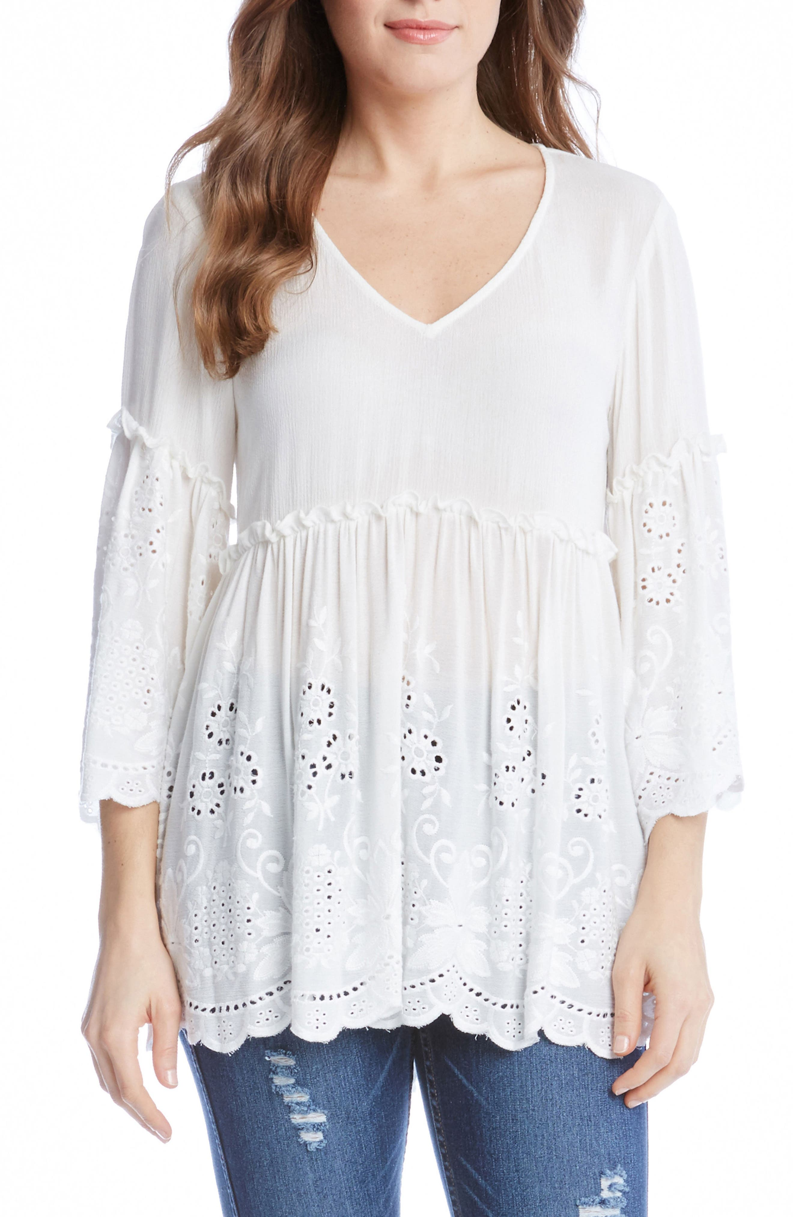 Karen Kane Embroidered Ruffle Top