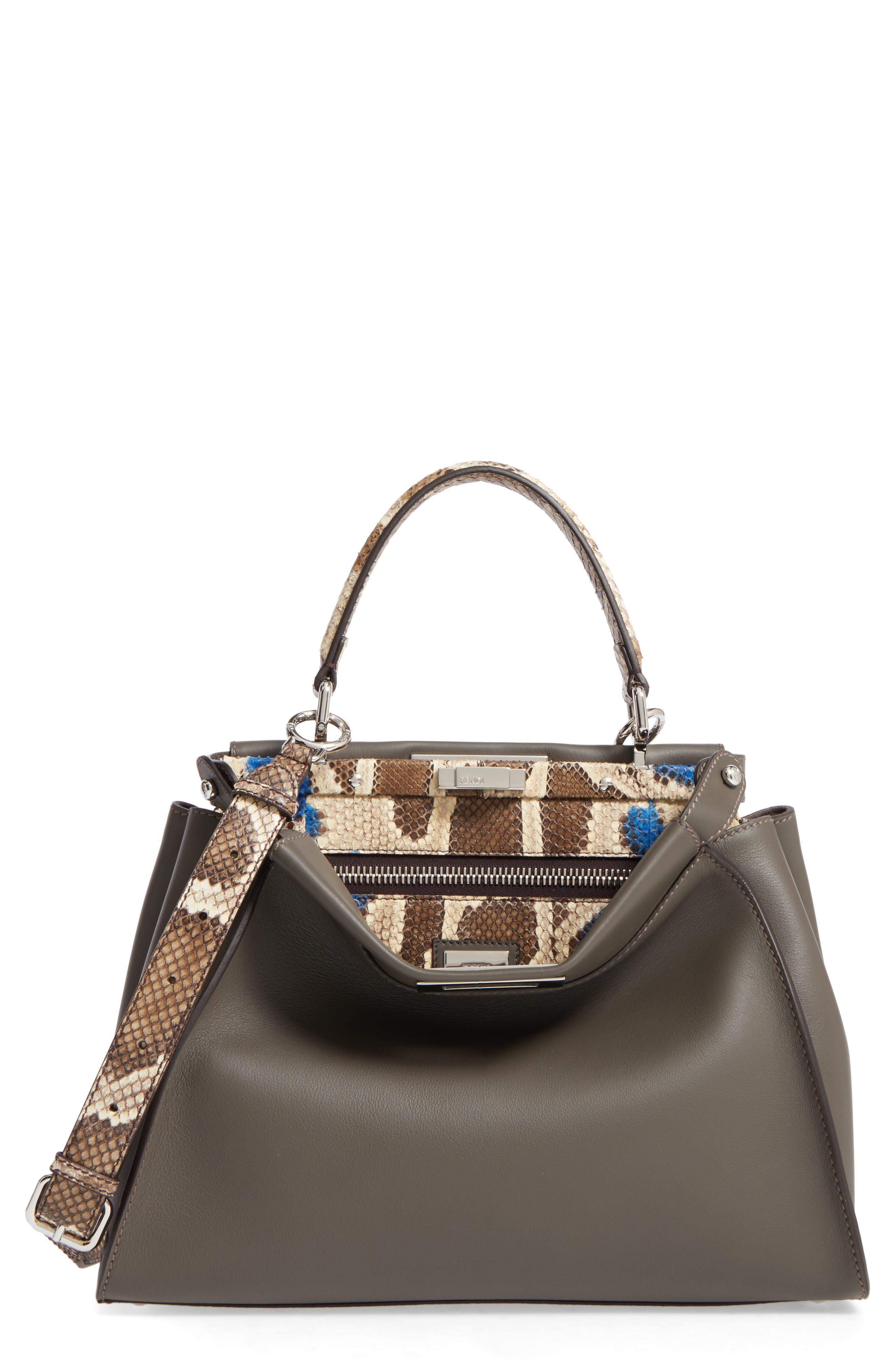 Main Image - Fendi Peekaboo Calfskin Leather & Genuine Python Satchel