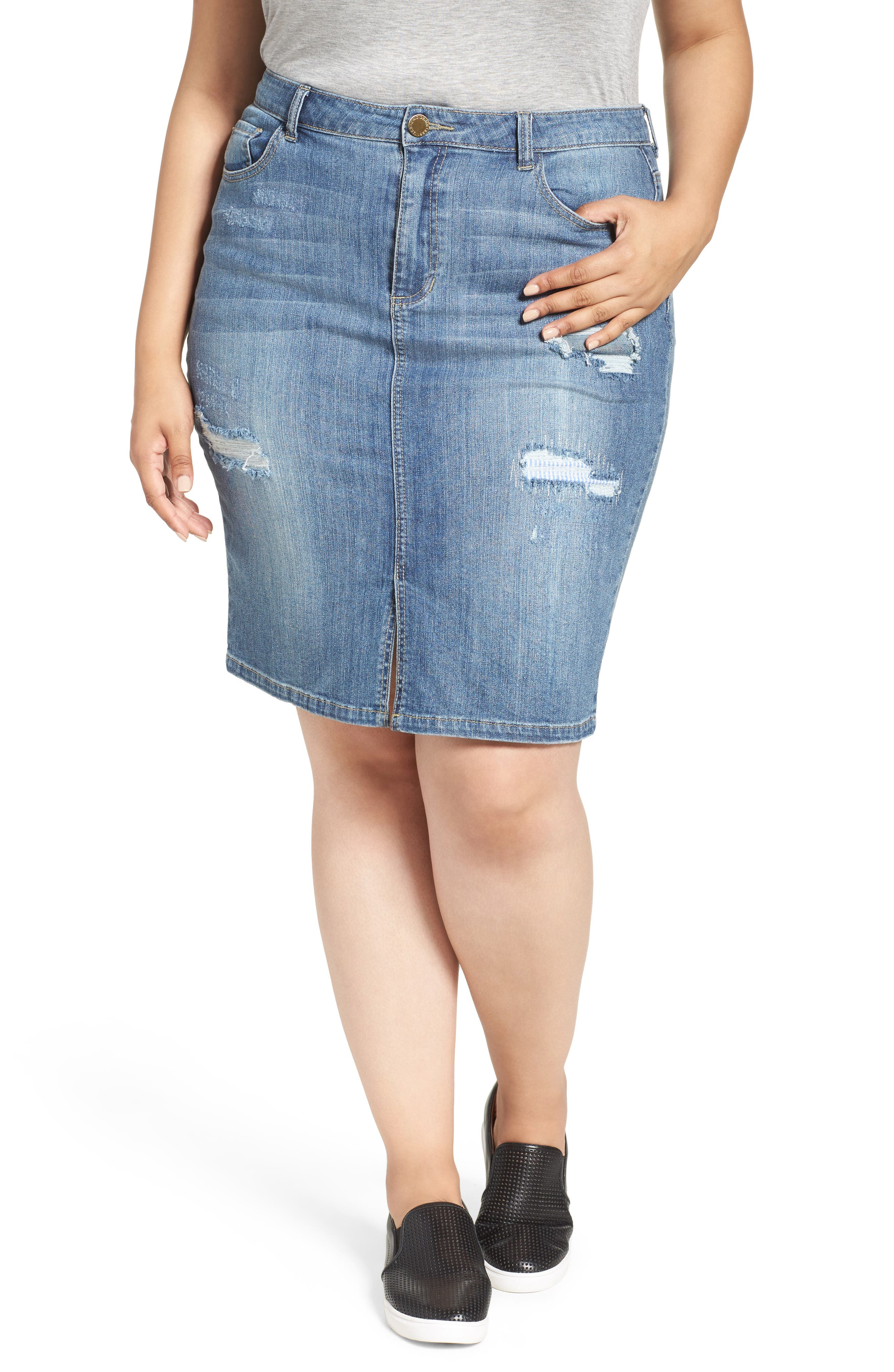 City Chic Destroyed Denim Skirt (Plus Size)