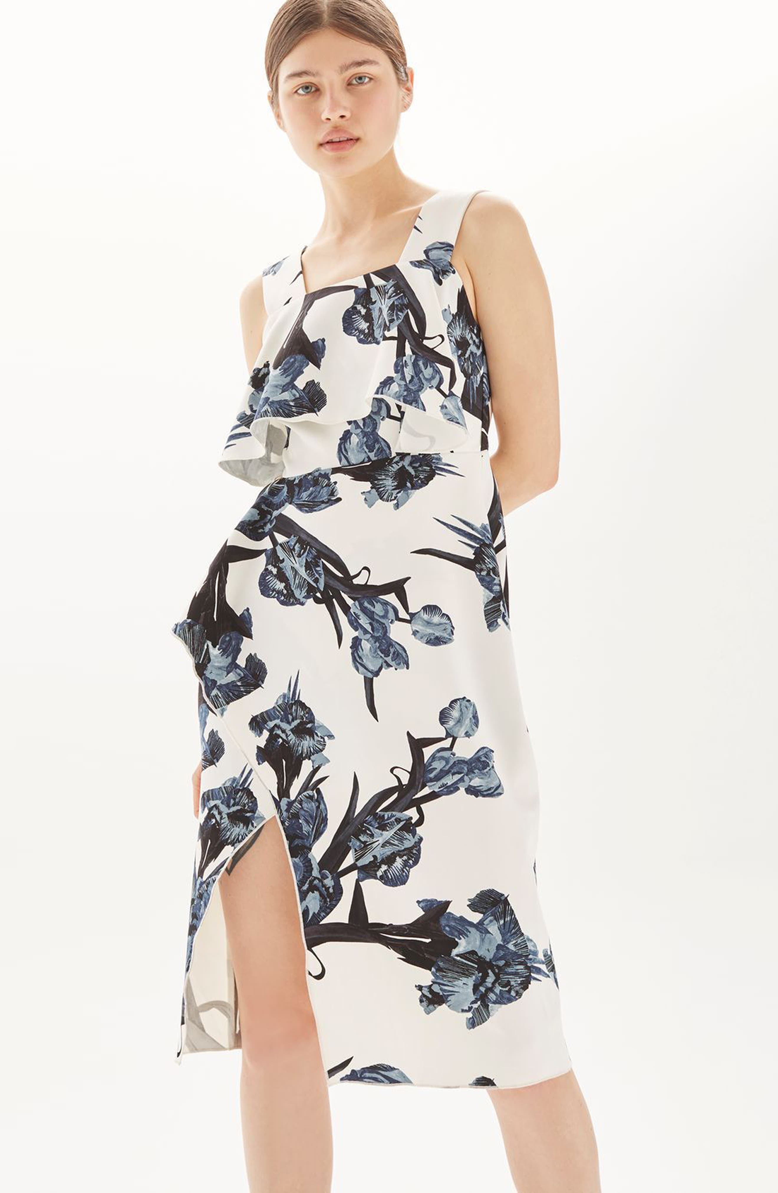 Alternate Image 2  - Topshop Floral Ruffle Midi Dress