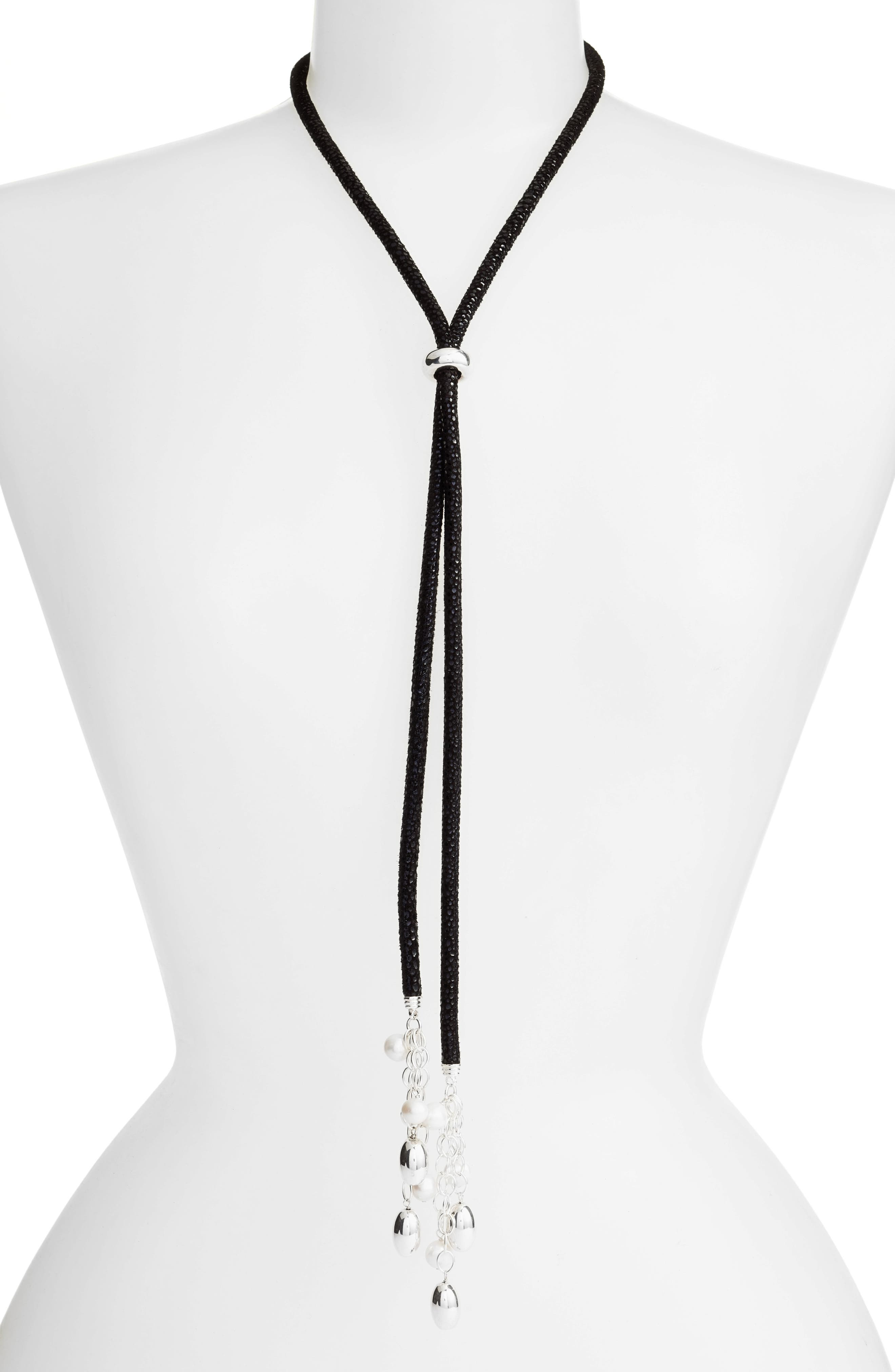 Simon Sebbag Convertible Pearl & Suede Lariat Necklace