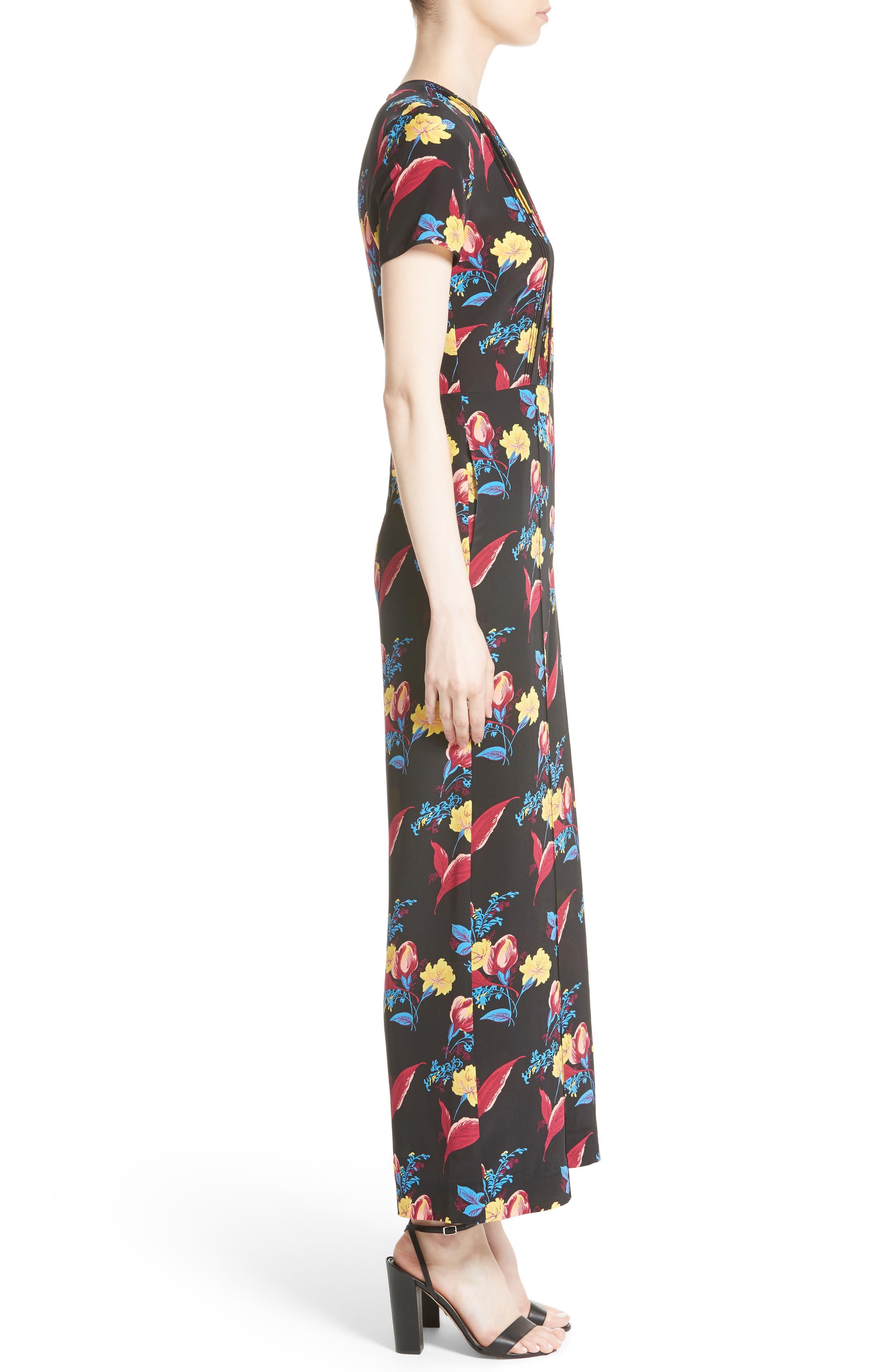 Alternate Image 3  - Diane von Furstenberg Floral Crop Silk Jumpsuit