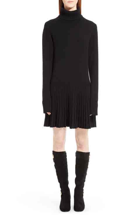 Chloé Cashmere Pleated Turtleneck Dress