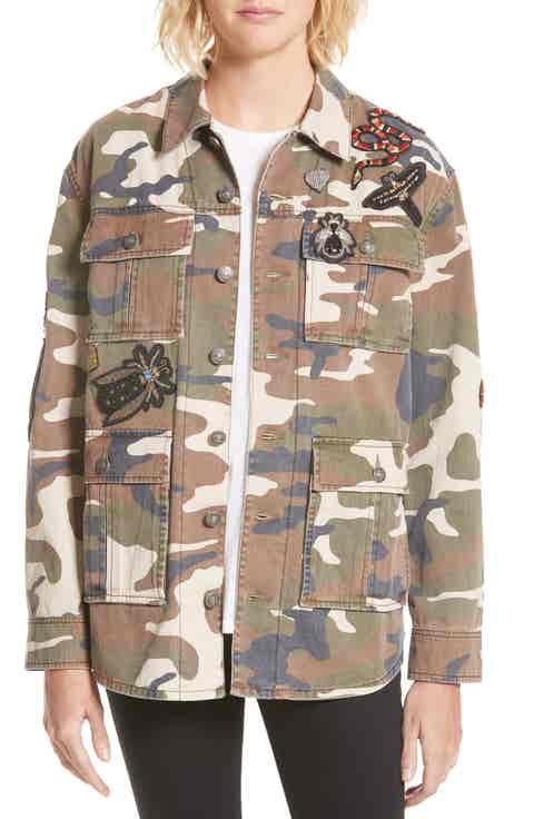 Cinq à Sept Canyon Embellished Camo Military Jacket