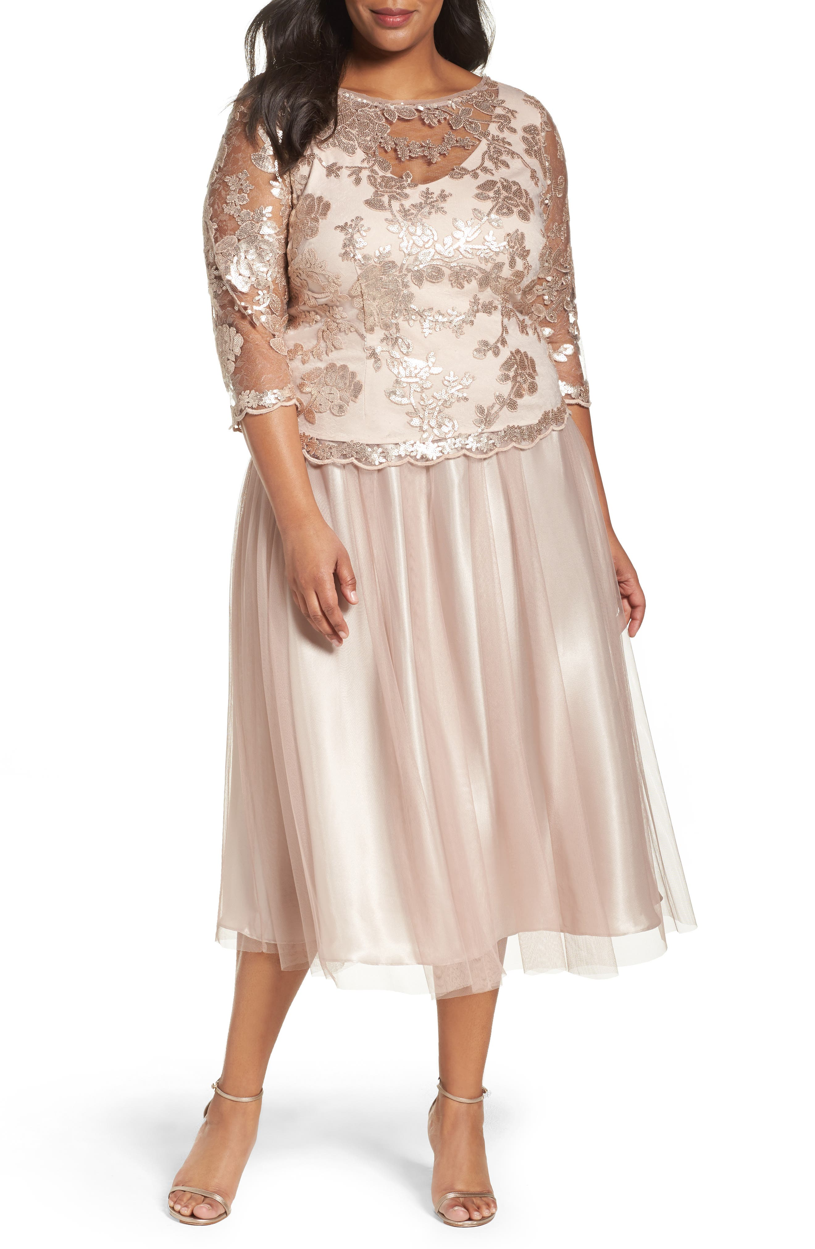 Alex Evenings Embroidered Bodice Tea-Length Dress (Plus Size)