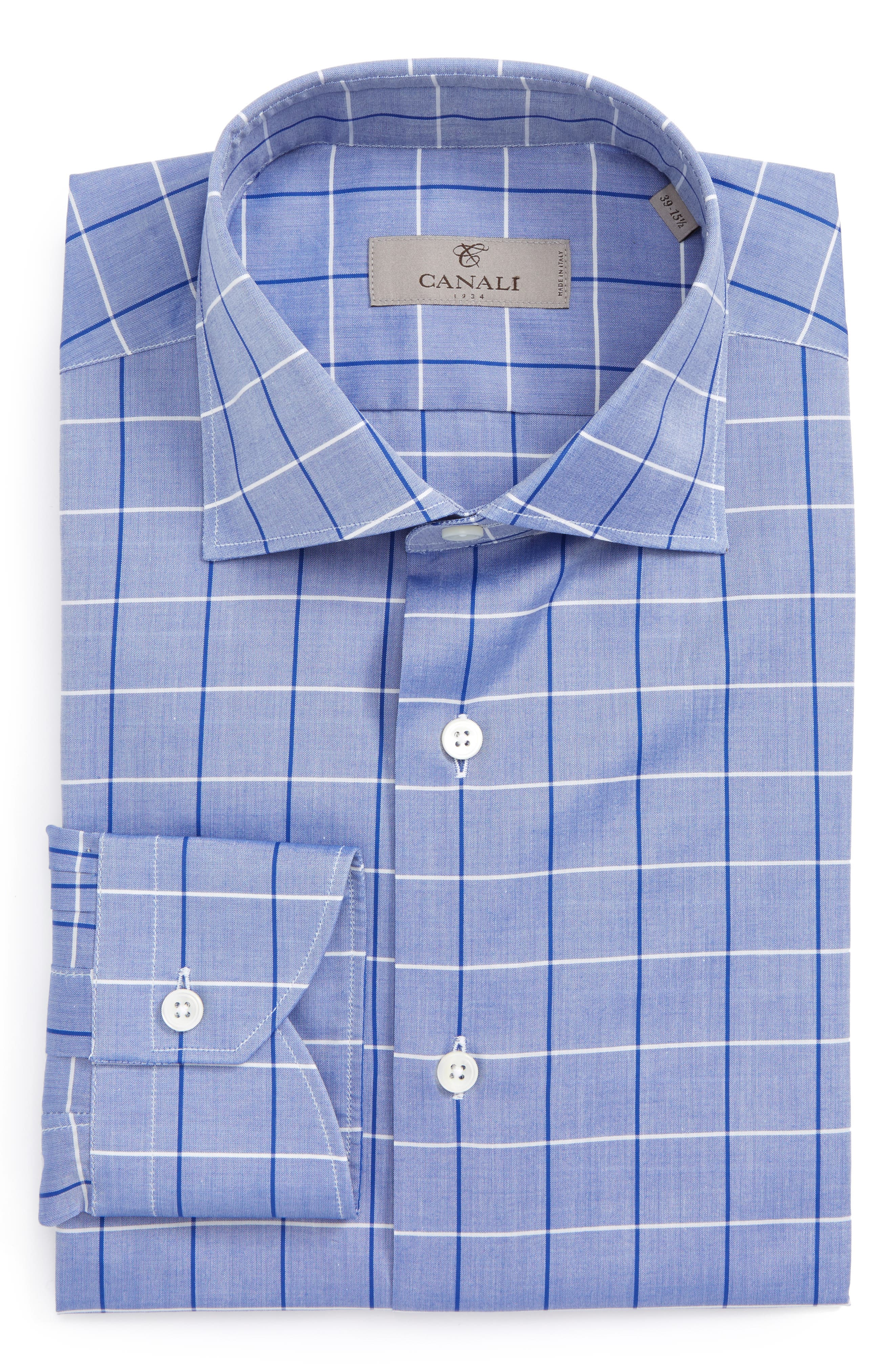 Canali Regular Fit Windowpane Dress Shirt