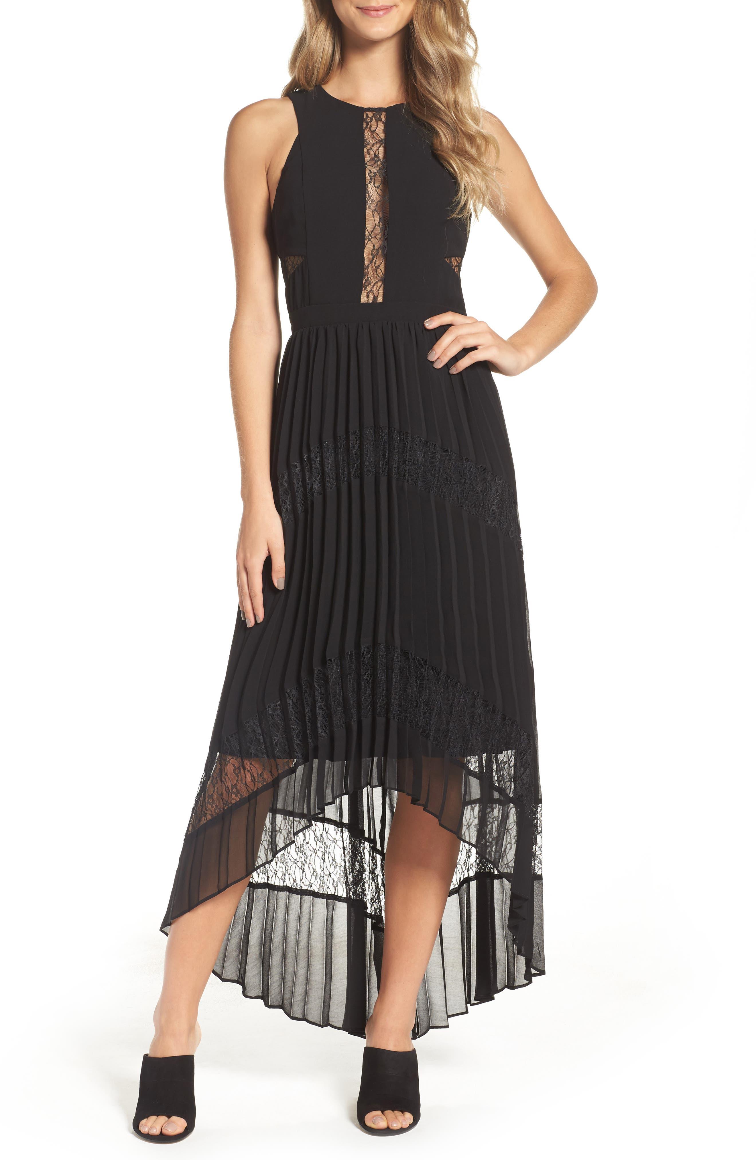 Adelyn Rae Irina Pleated High/Low Dress