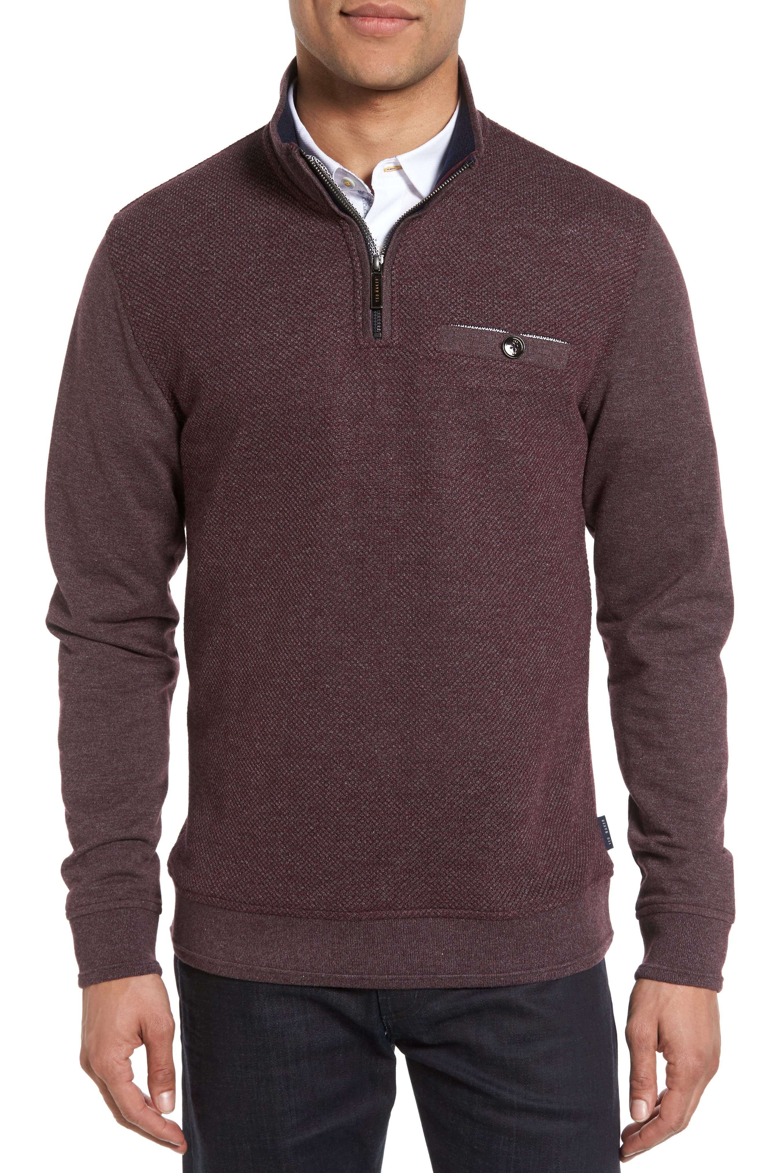 Ted Baker London Norham Modern Slim Fit Quarter Zip Pullover