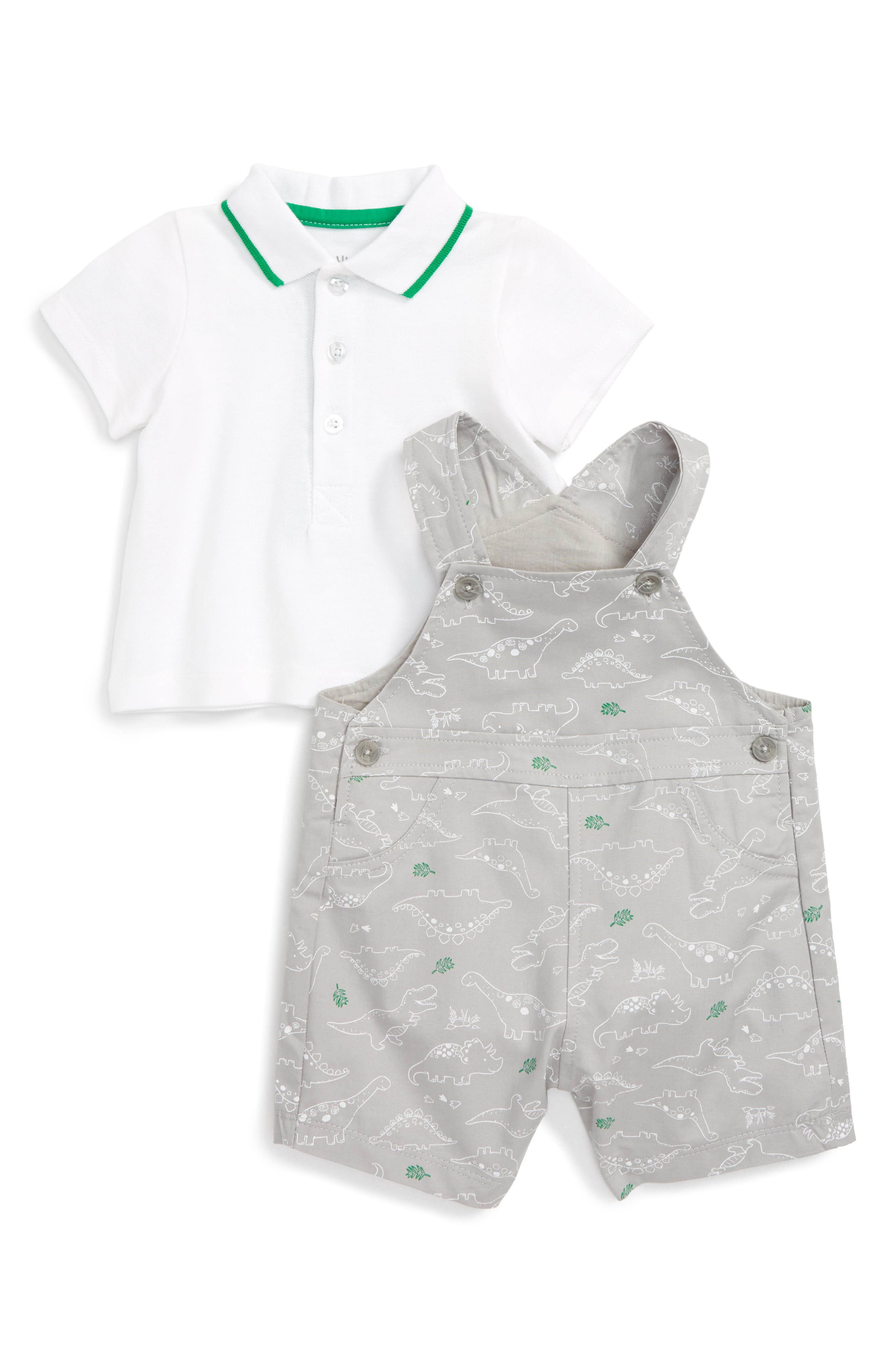 Little Me Dinos Polo Shirt & Overall Shorts Set (Baby Boys)