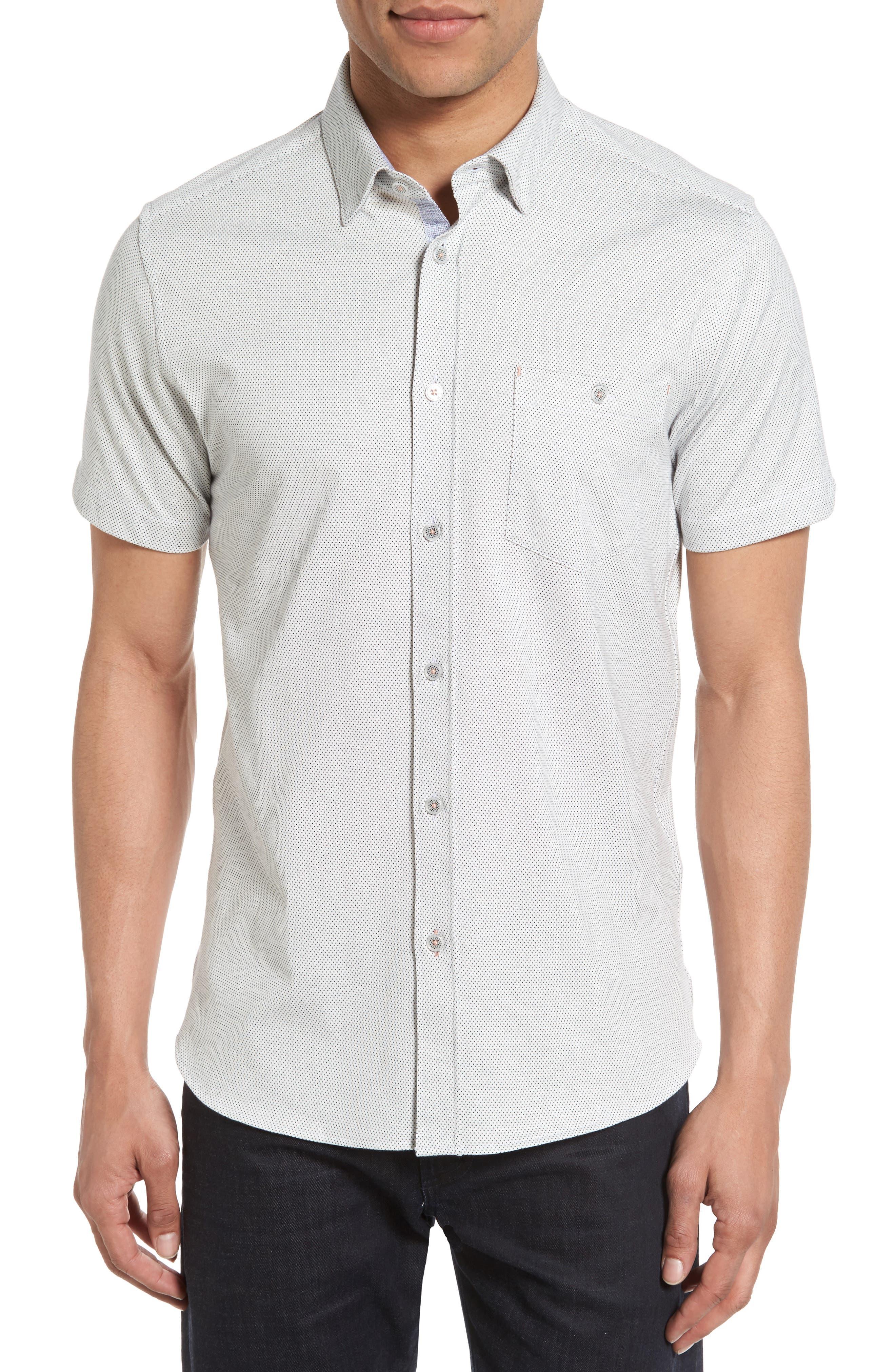 Ted Baker London Shaxxb Extra Trim Fit Print Knit Sport Shirt