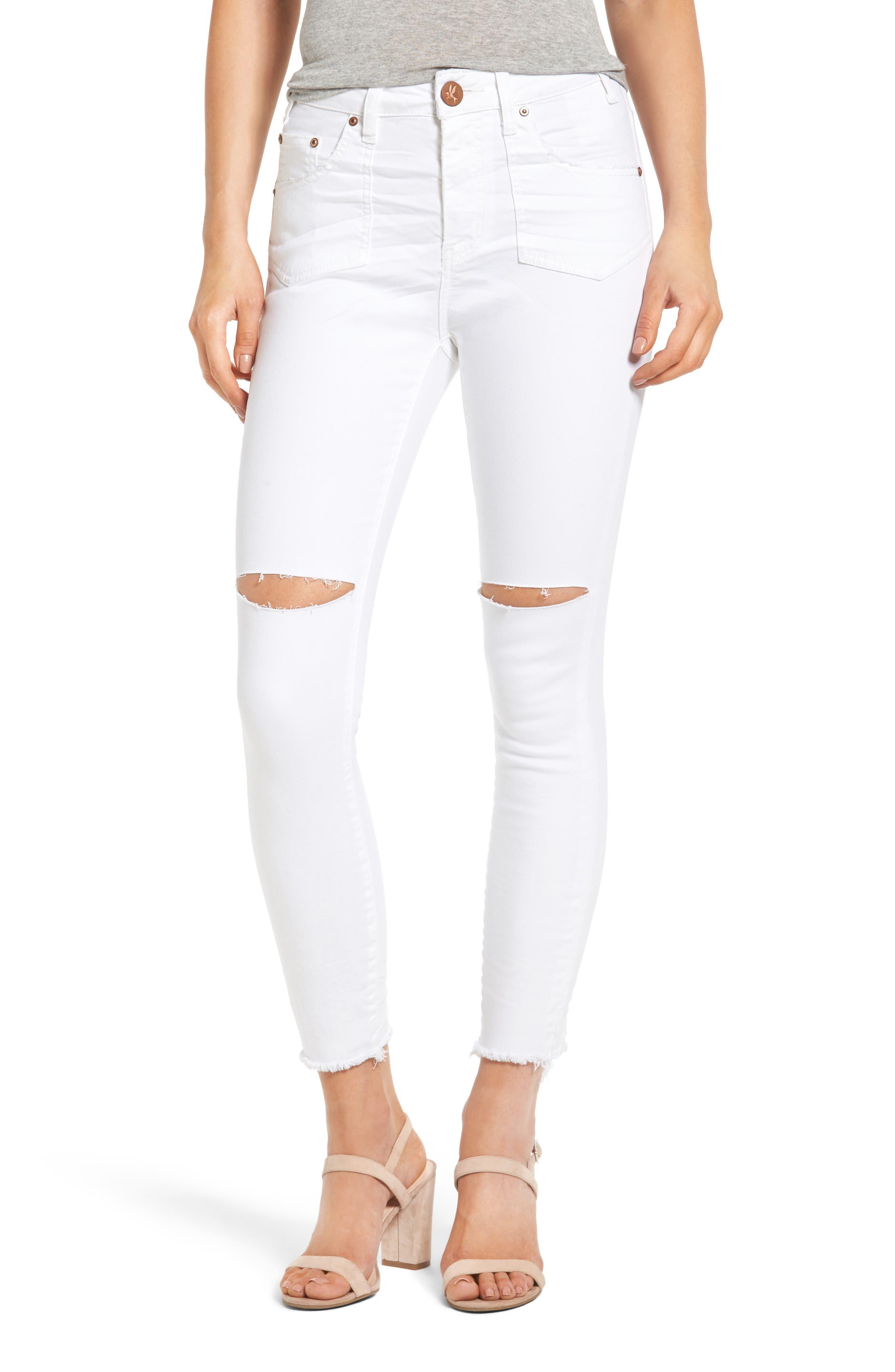 One Teaspoon Freebird High Waist Ripped Skinny Jeans (Premium White)
