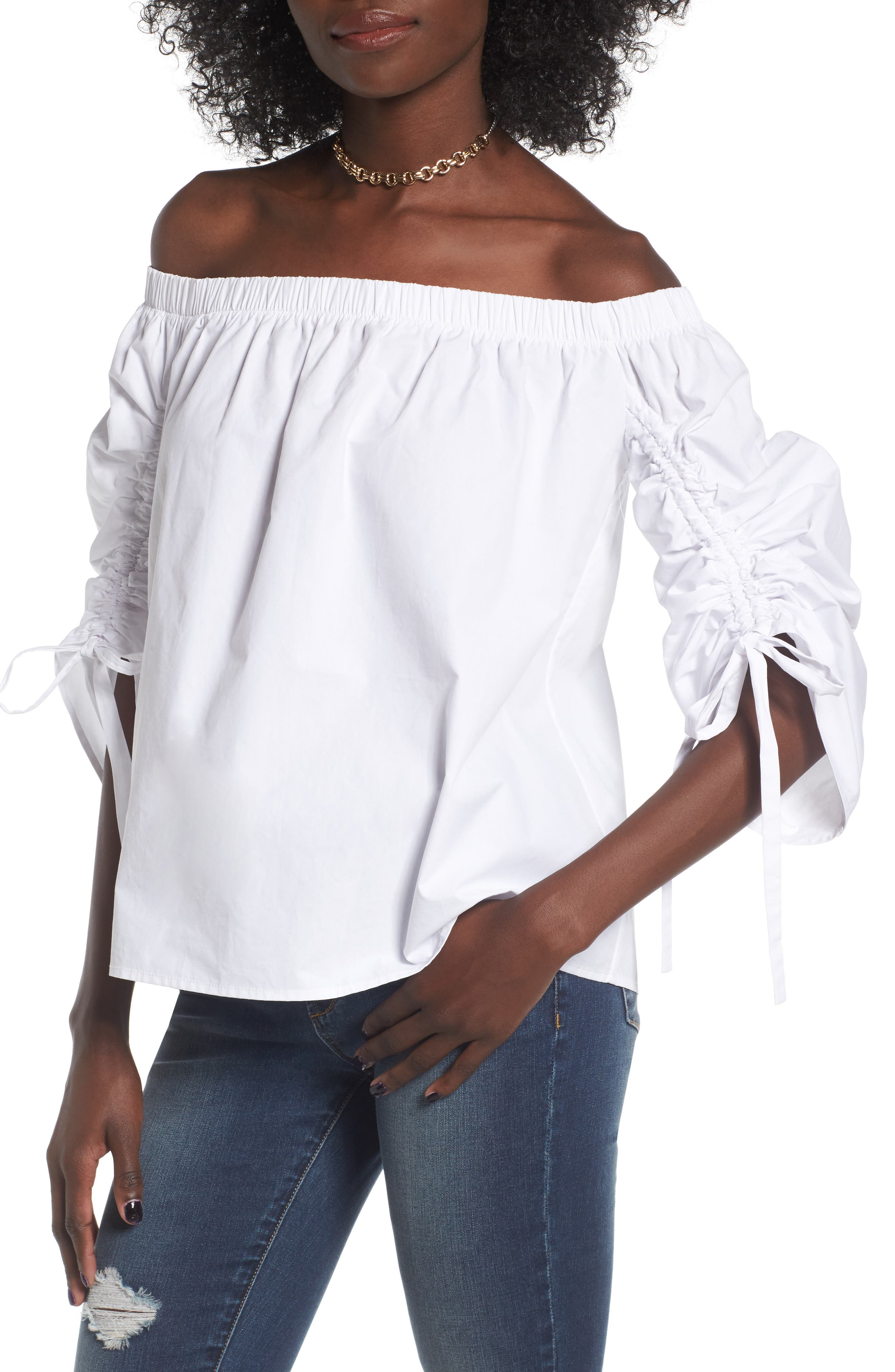 Soprano Cinched Sleeve Off the Shoulder Top