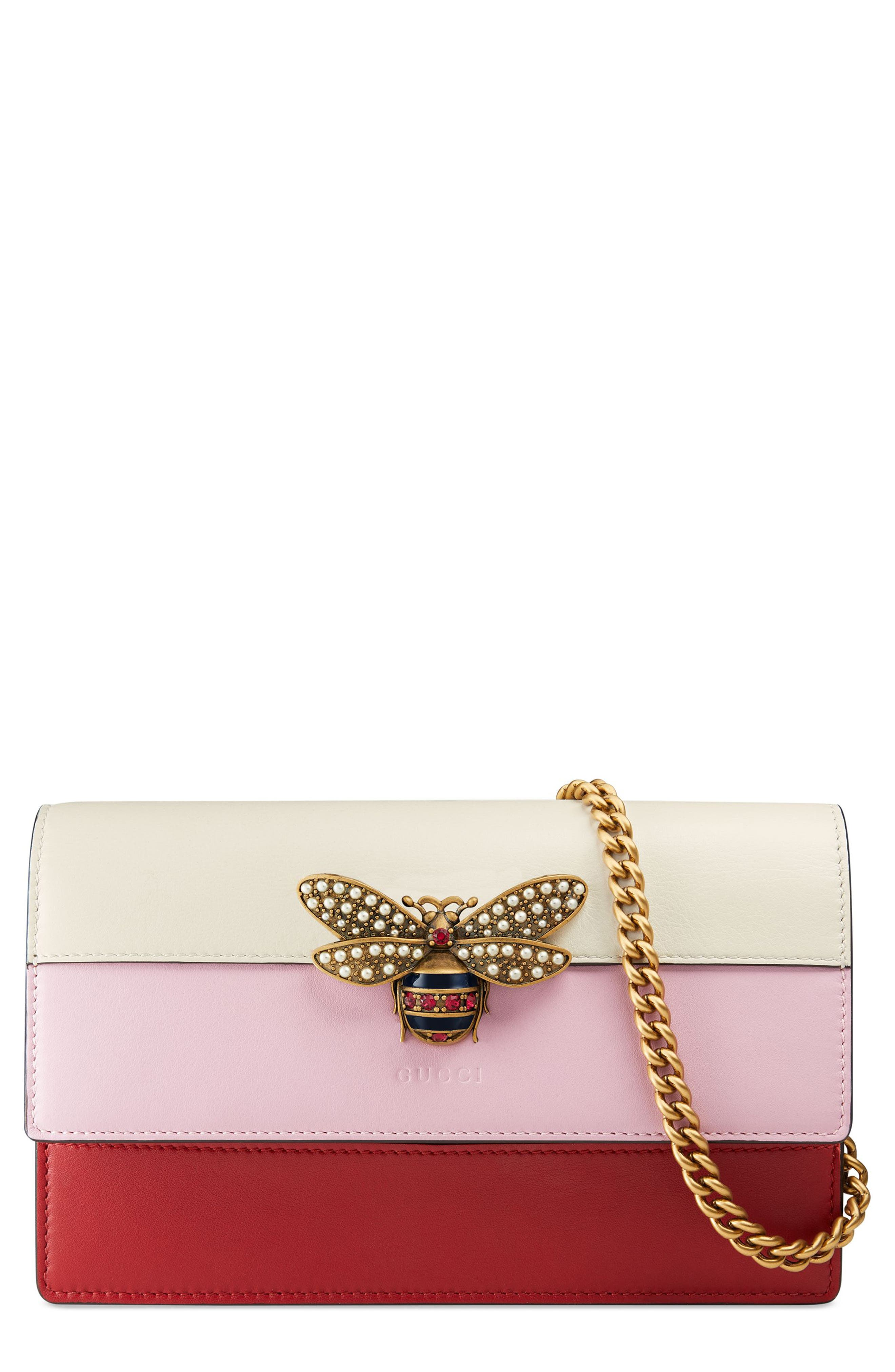 Alternate Image 1 Selected - Gucci Mini Bee Multistripe Leather Shoulder Bag