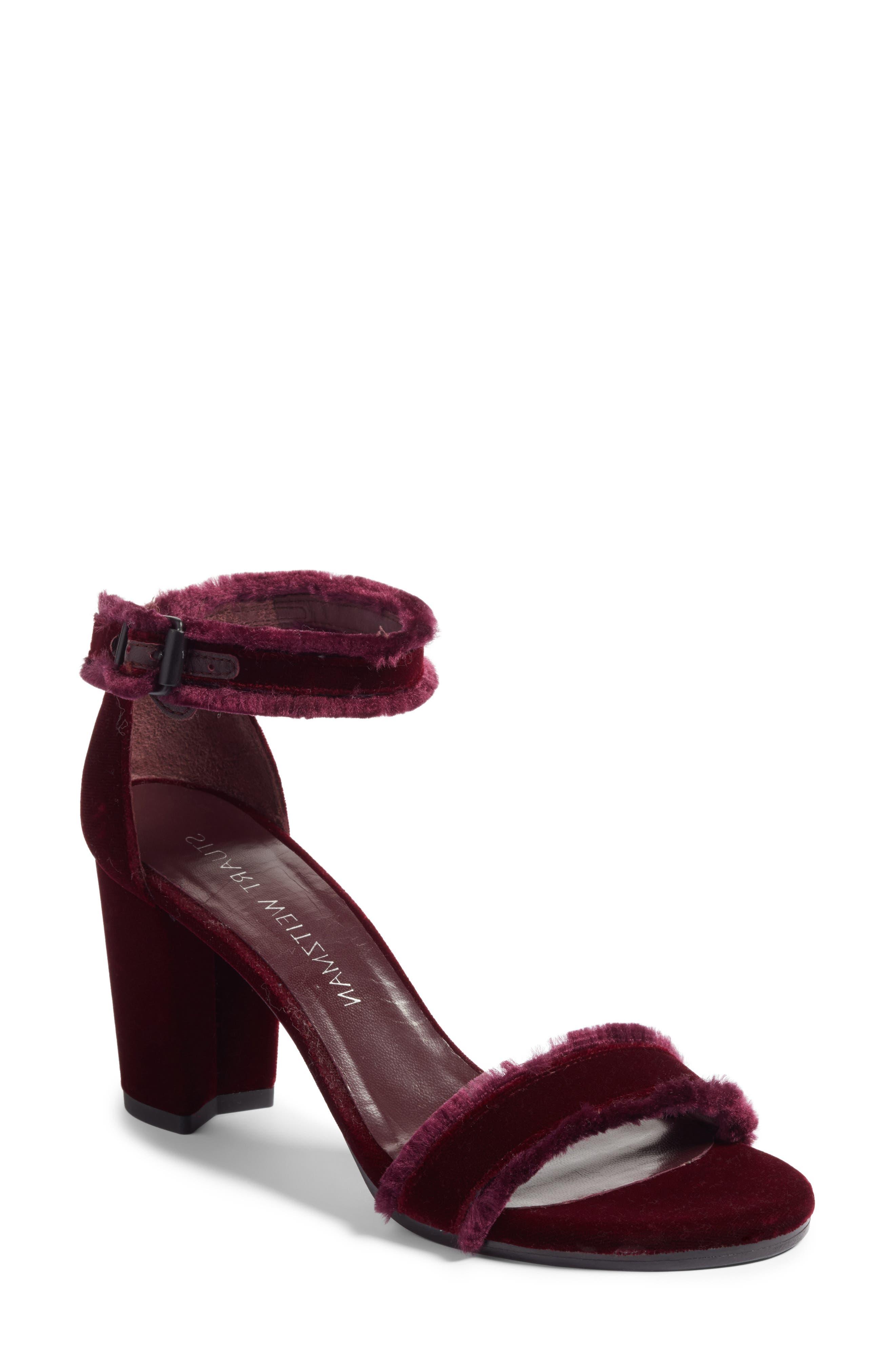 Alternate Image 1 Selected - Stuart Weitzman Frayed Ankle Strap Sandal (Women)