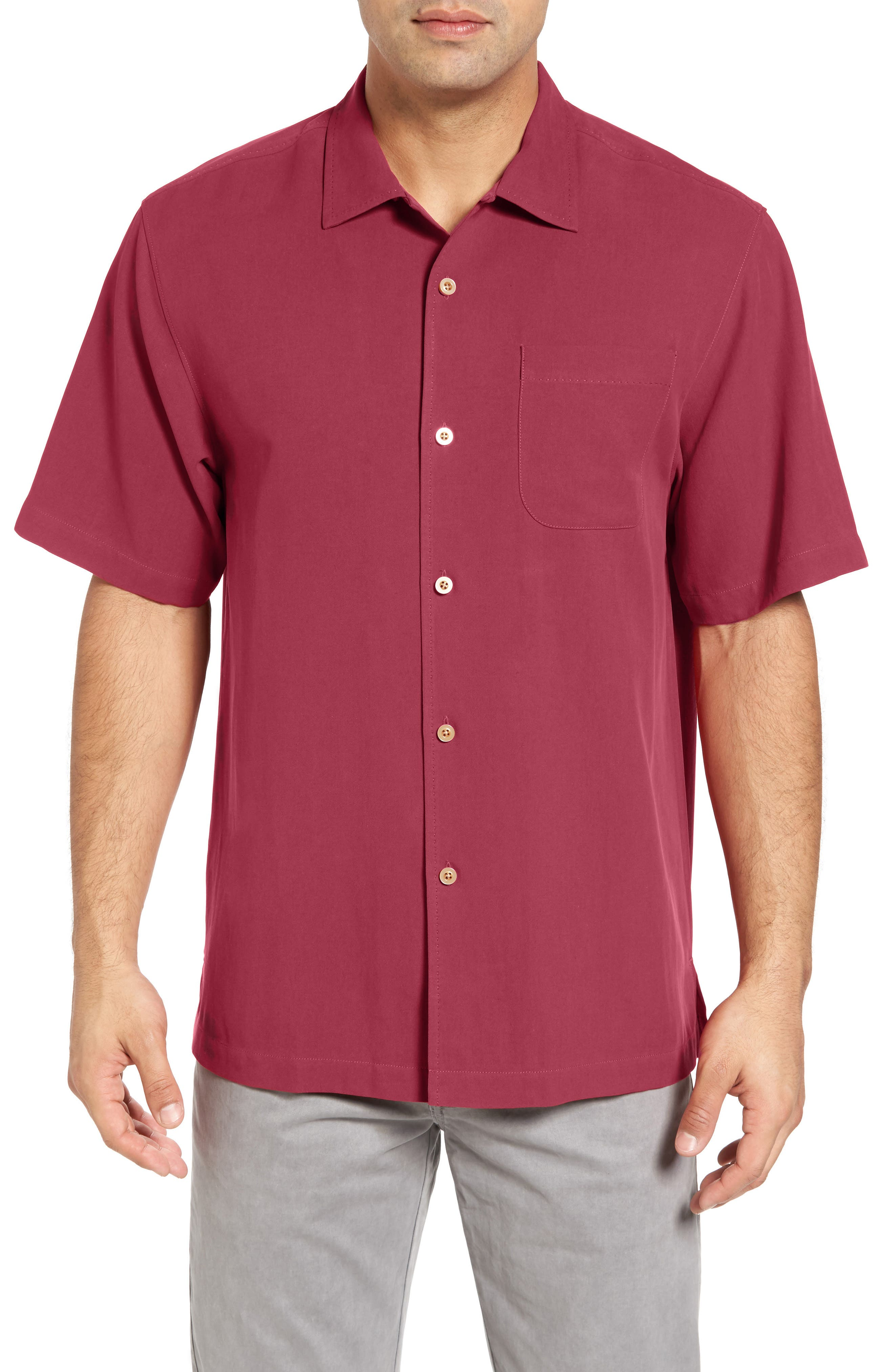 Tommy Bahama 'Catalina Twill' Short Sleeve Silk Camp Shirt (Big & Tall)