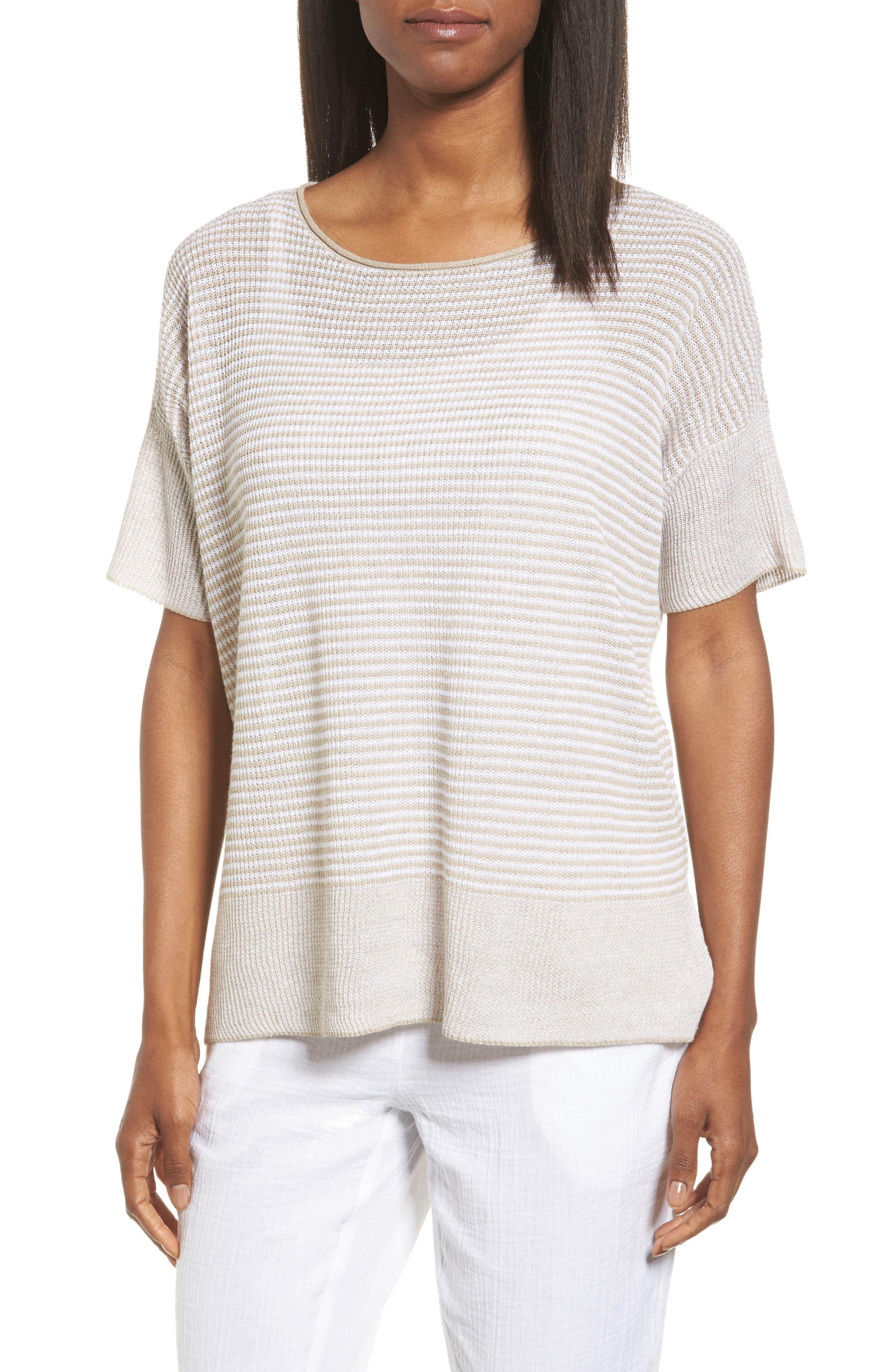 Eileen Fisher Organic Linen Two-Tone Sweater (Regular & Petite)