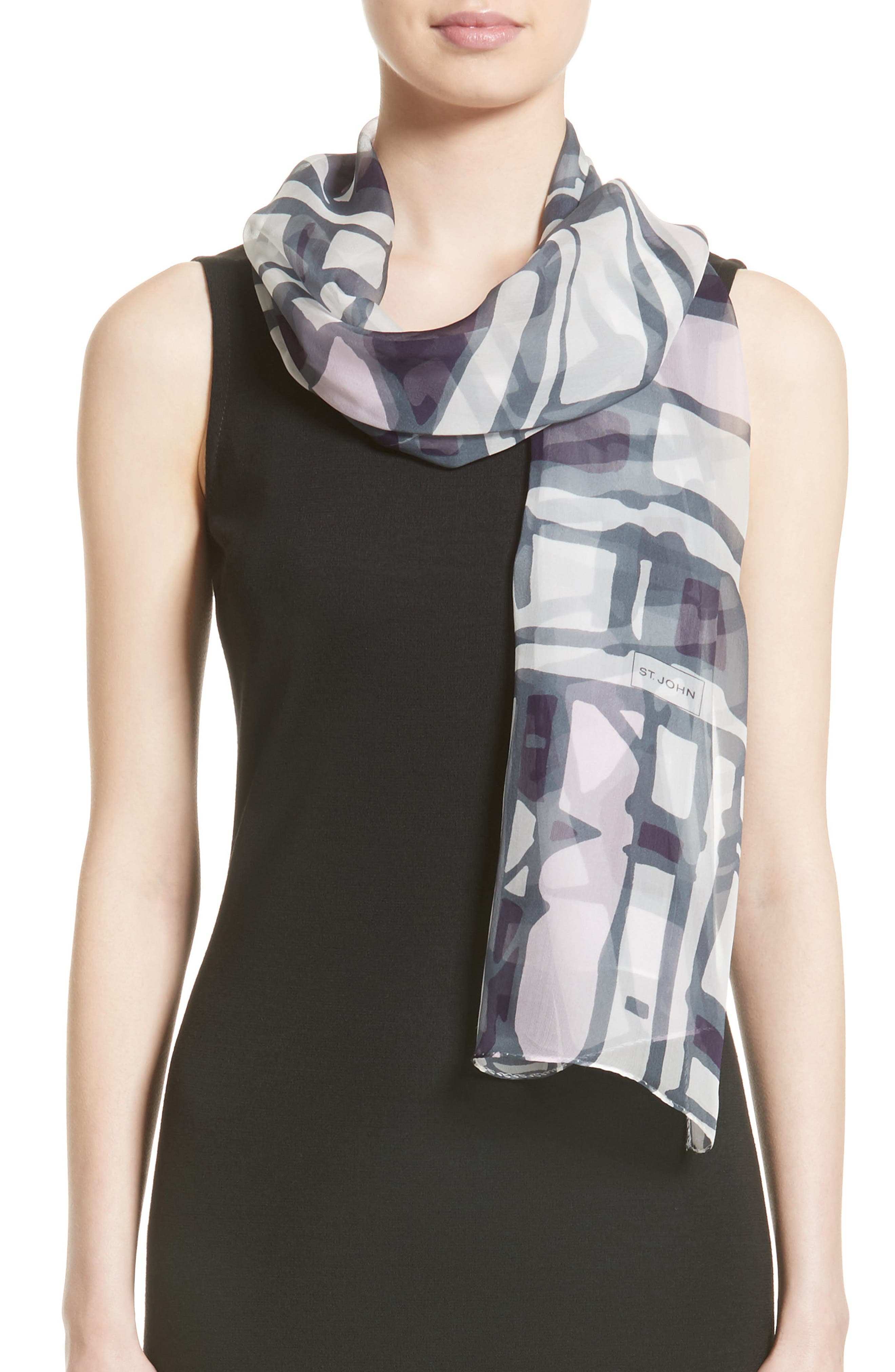 St. John Collection Broken Stripe Print Silk Georgette Scarf