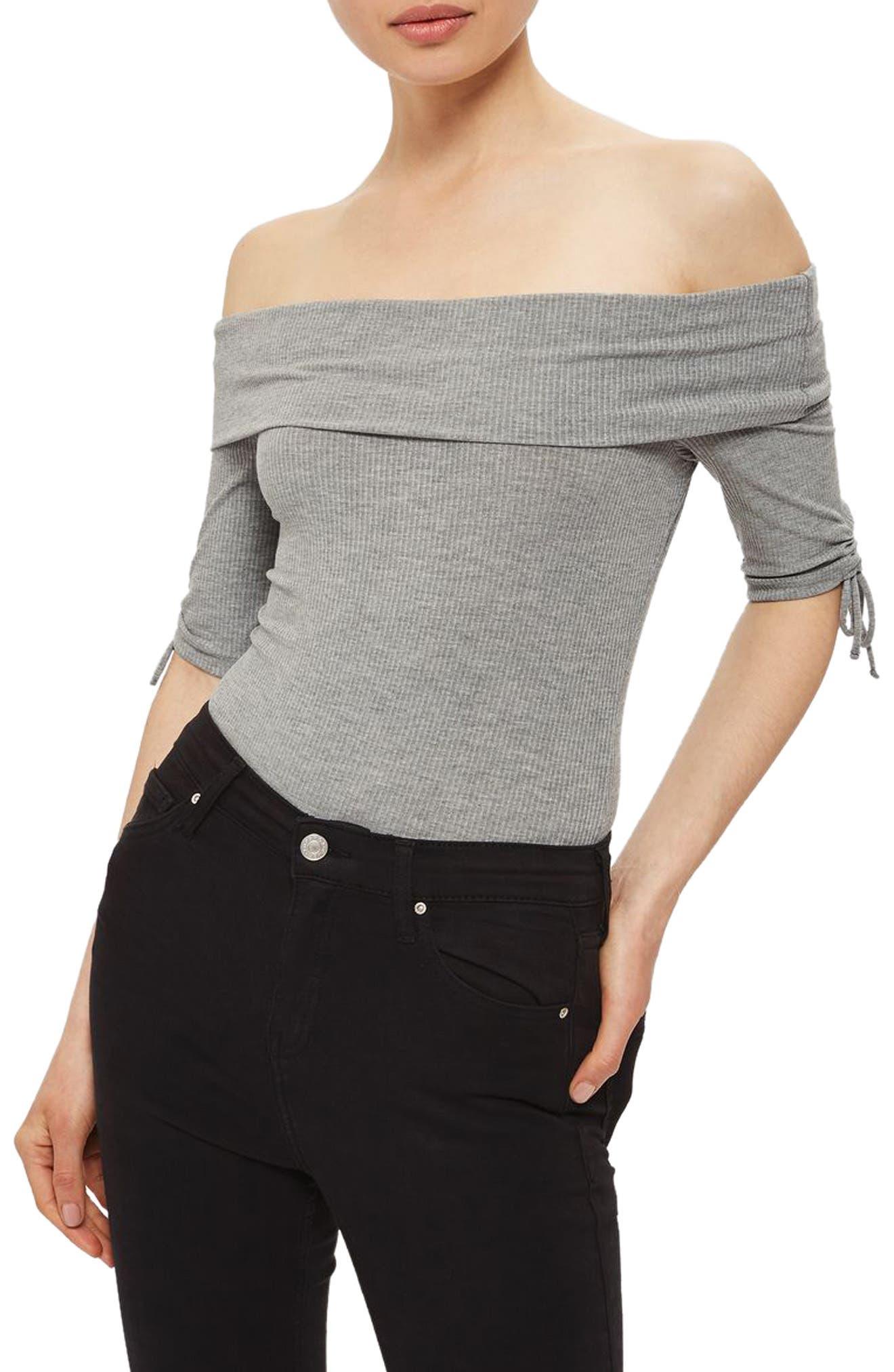 Topshop Bardot Tie Detail Bodysuit