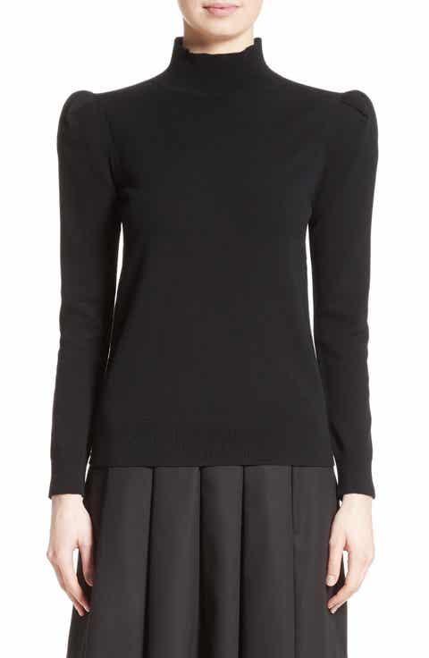 Co Cashmere Puff Shoulder Turtleneck Sweater
