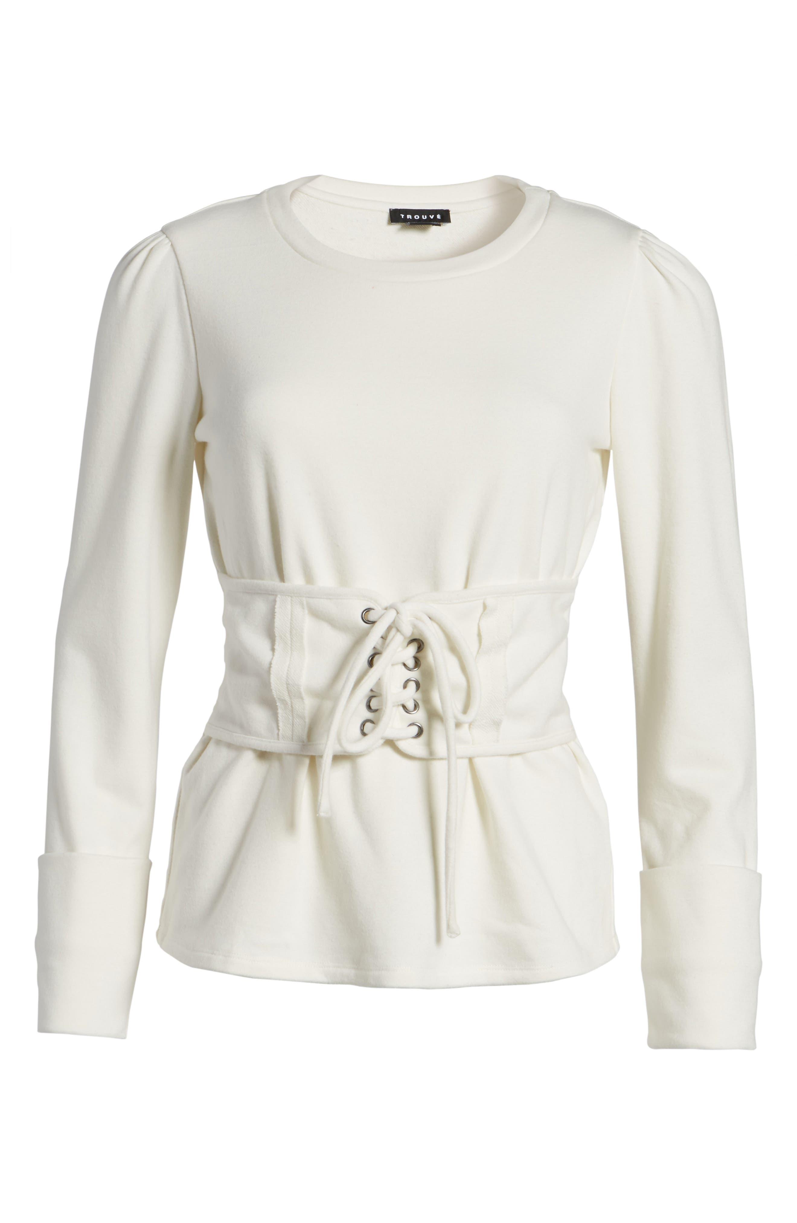 Alternate Image 7  - Trouvé Lace-Up Corset Sweatshirt