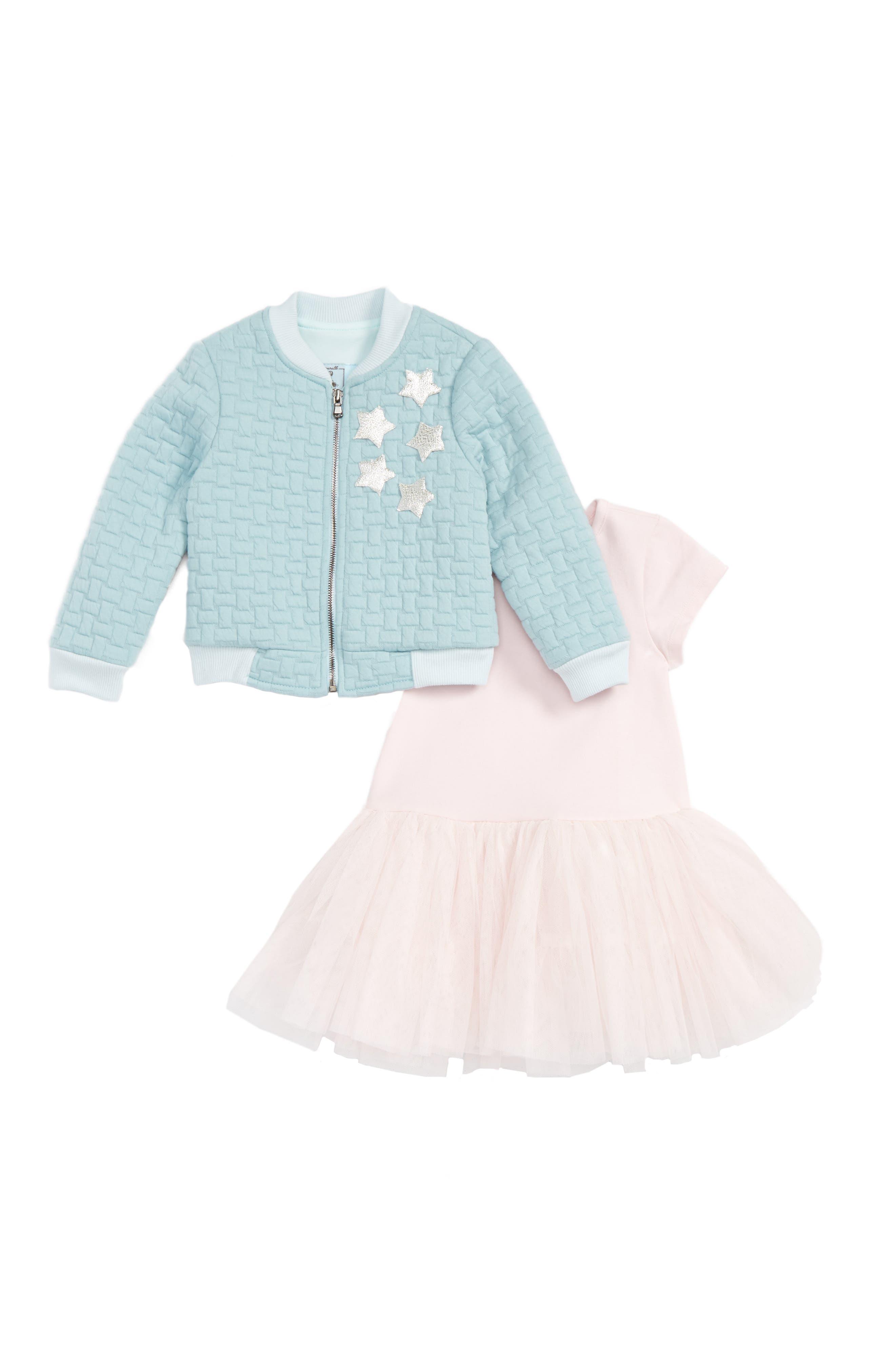 Alternate Image 1 Selected - Pippa & Julie Bomber Jacket & Tulle Dress Set (Toddler Girls & Little Girls)