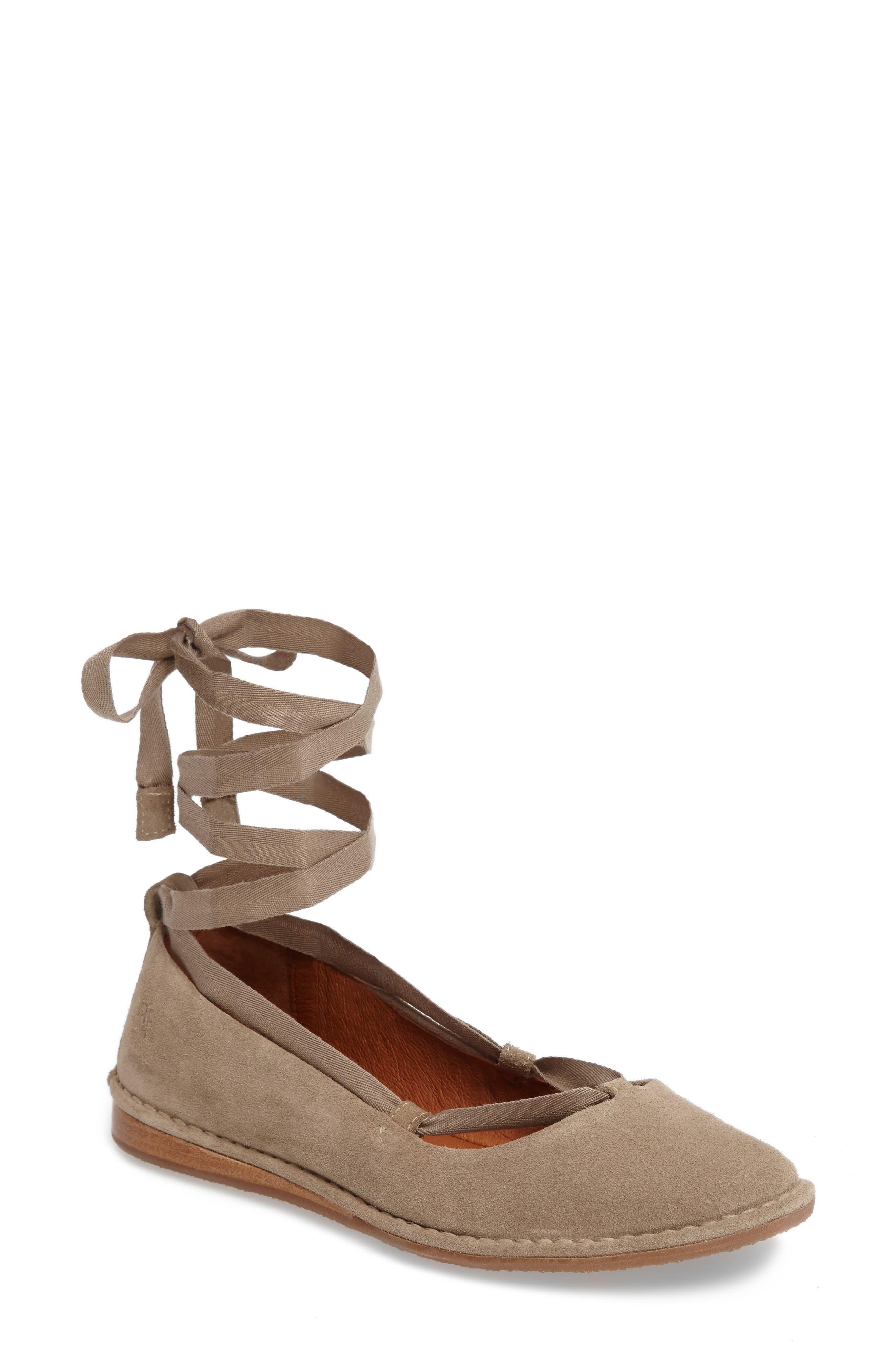 Frye Helena Ankle Wrap Flat (Women)