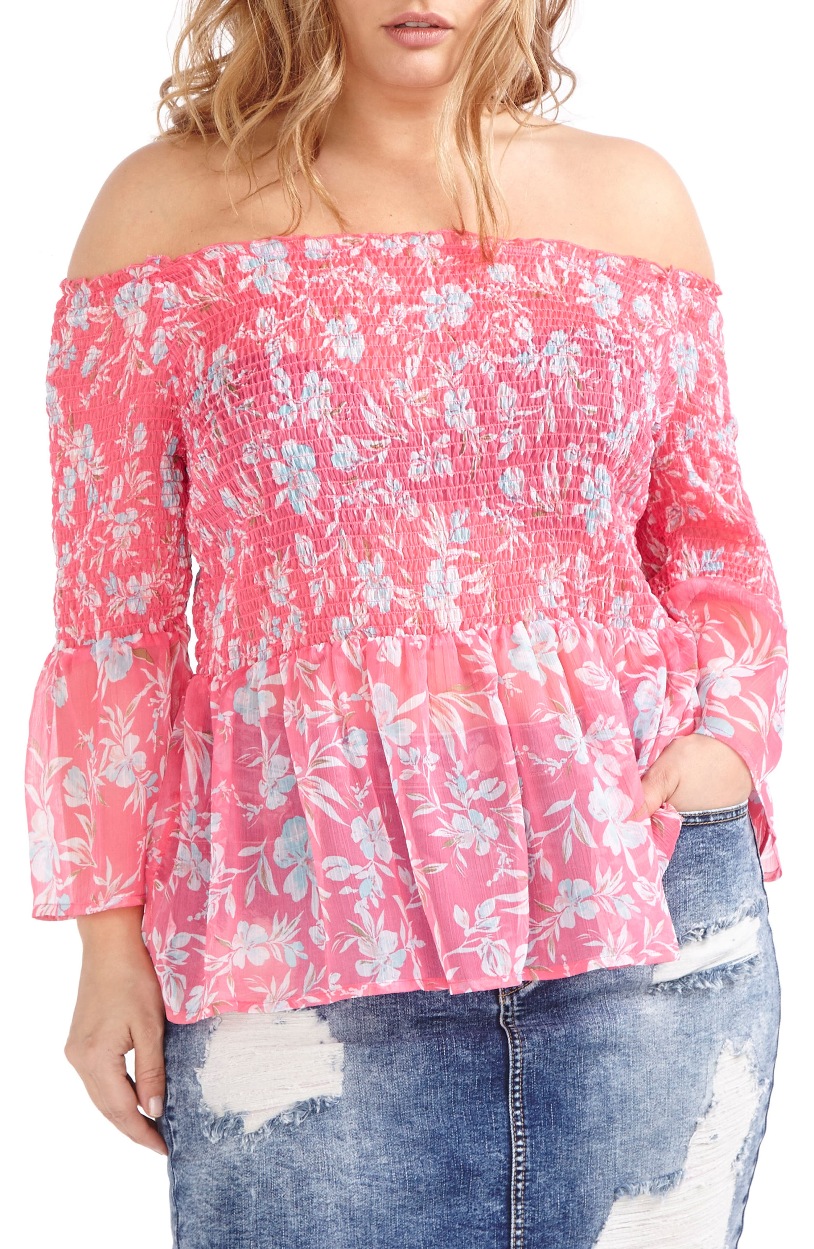 ADDITION ELLE LOVE AND LEGEND Print Chiffon Off the Shoulder Peasant Top (Plus Size)