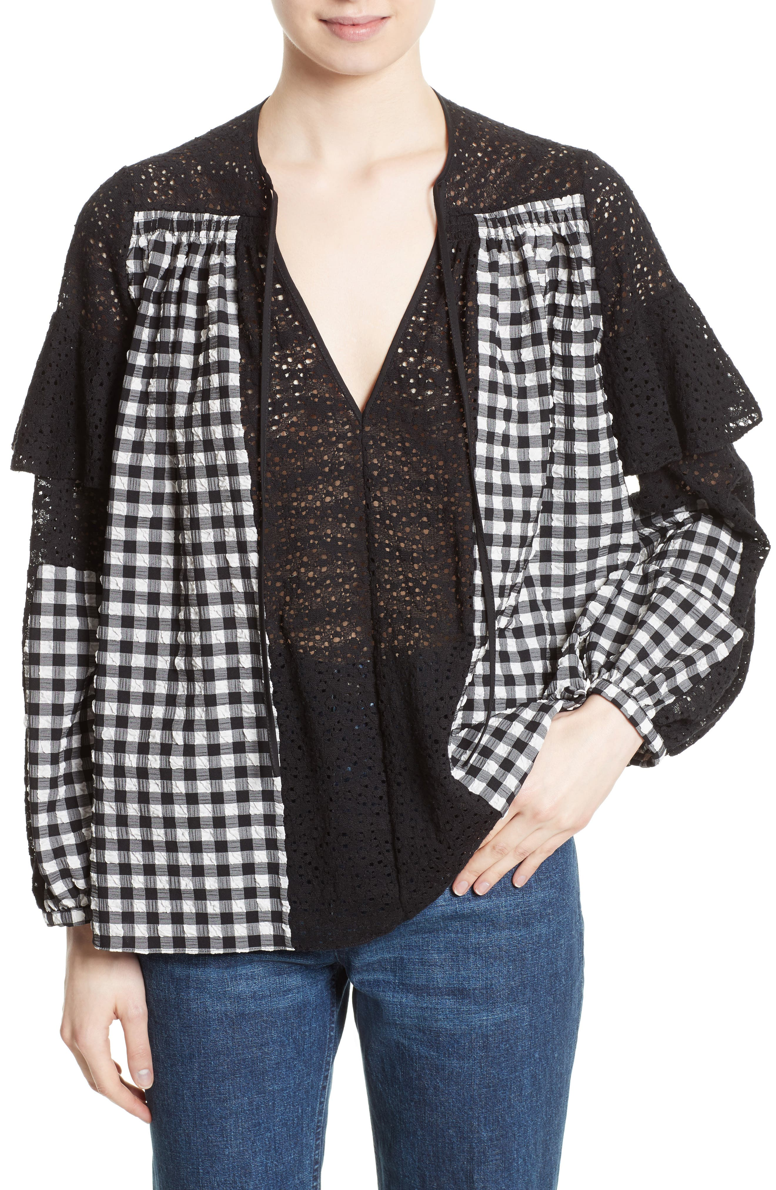 Rachel Comey Willow Lace & Gingham Top