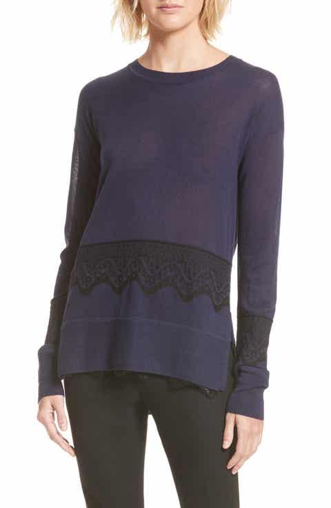 Derek Lam 10 Crosby Lace Hem Silk   Cashmere Pullover