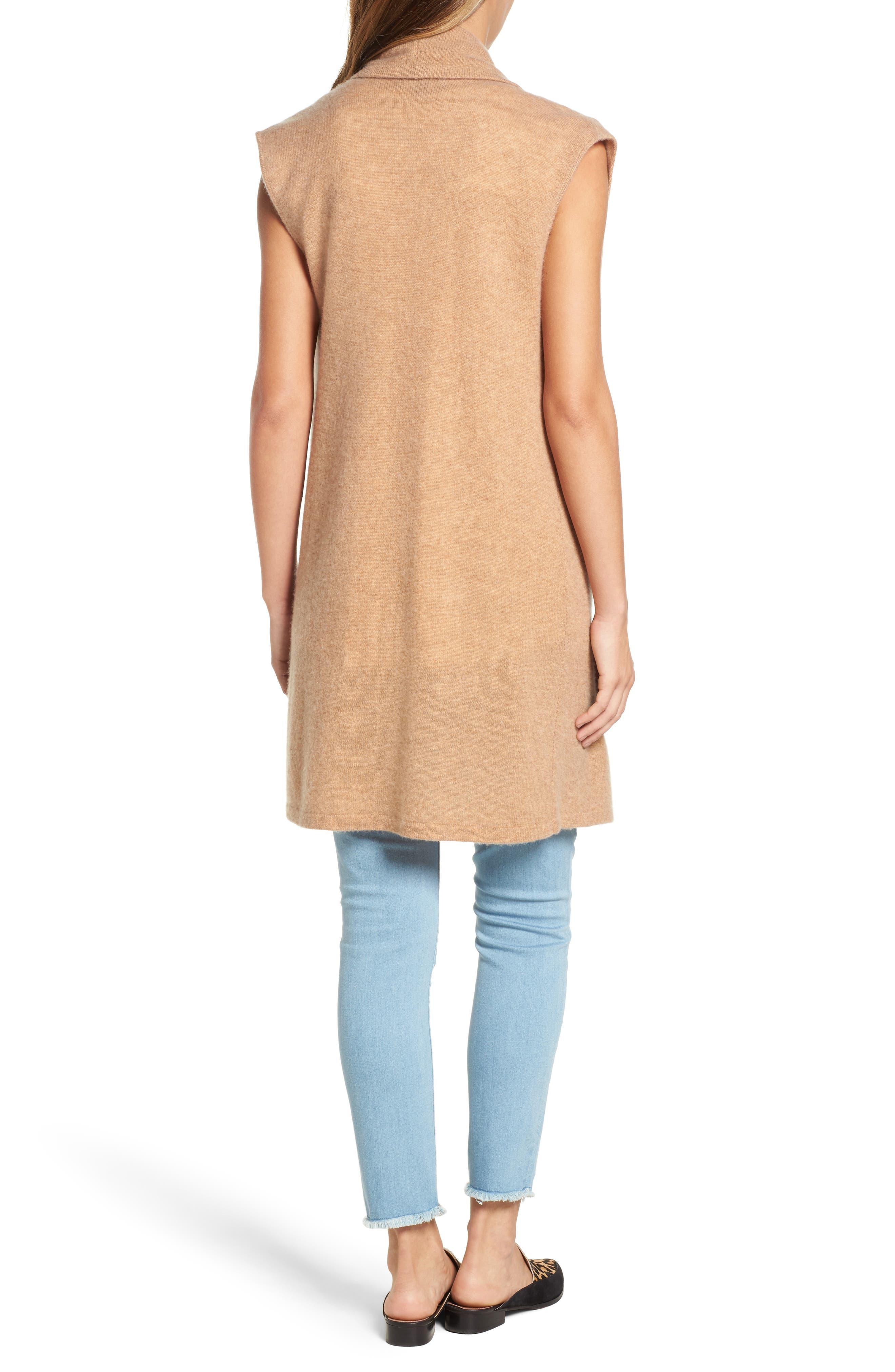 Alternate Image 2  - Halogen® Waterfall Drape Front Cashmere Vest