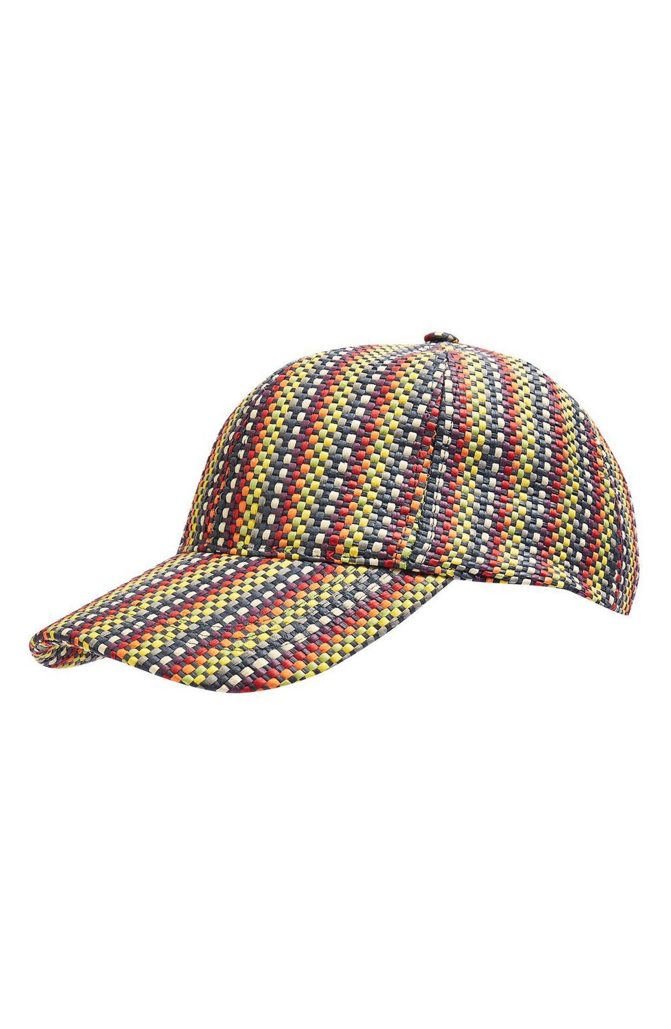 Topshop Colored Straw Baseball Cap