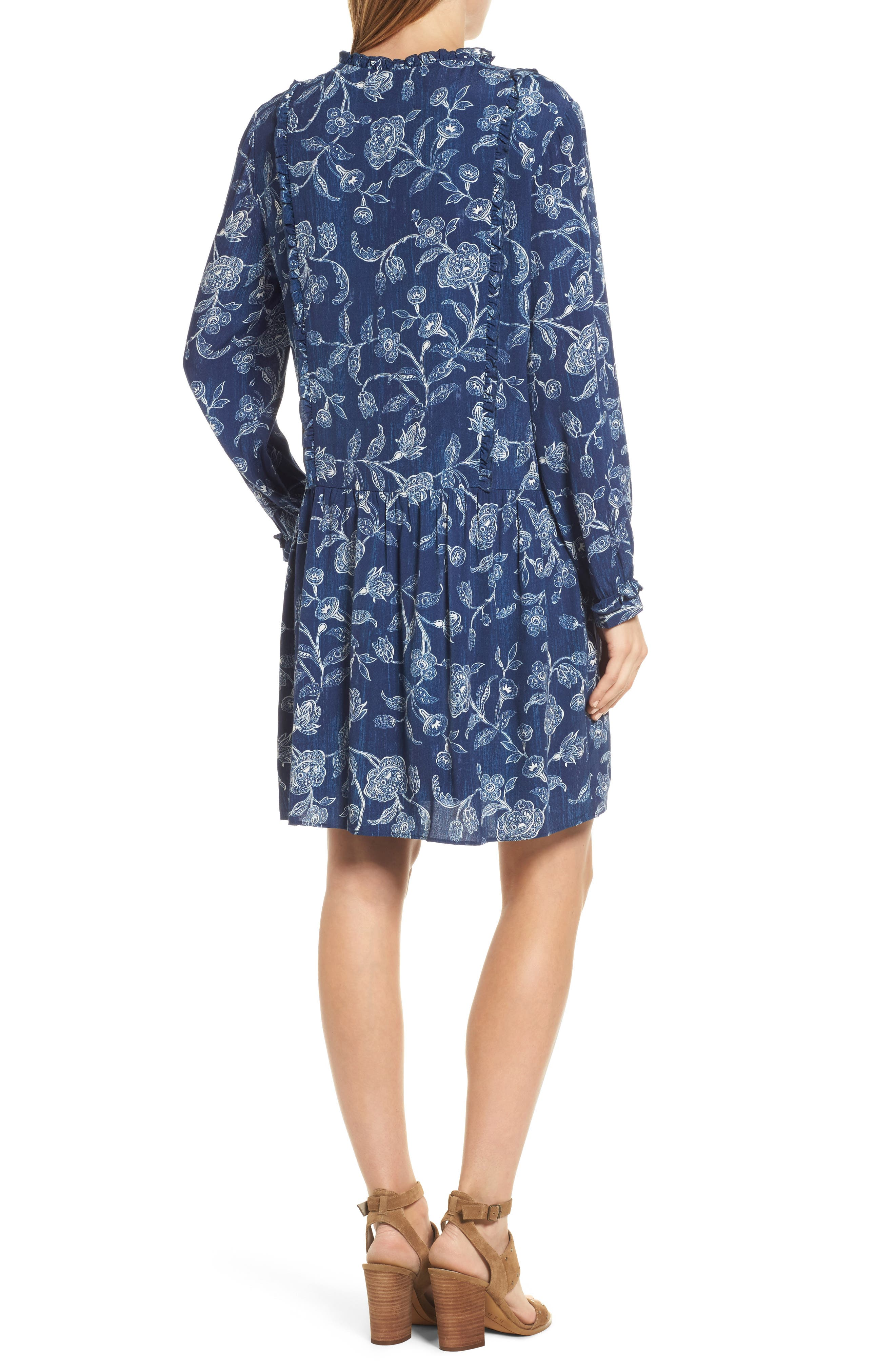 Alternate Image 2  - Caslon® Ruffle Split Neck Dress (Regular & Petite)