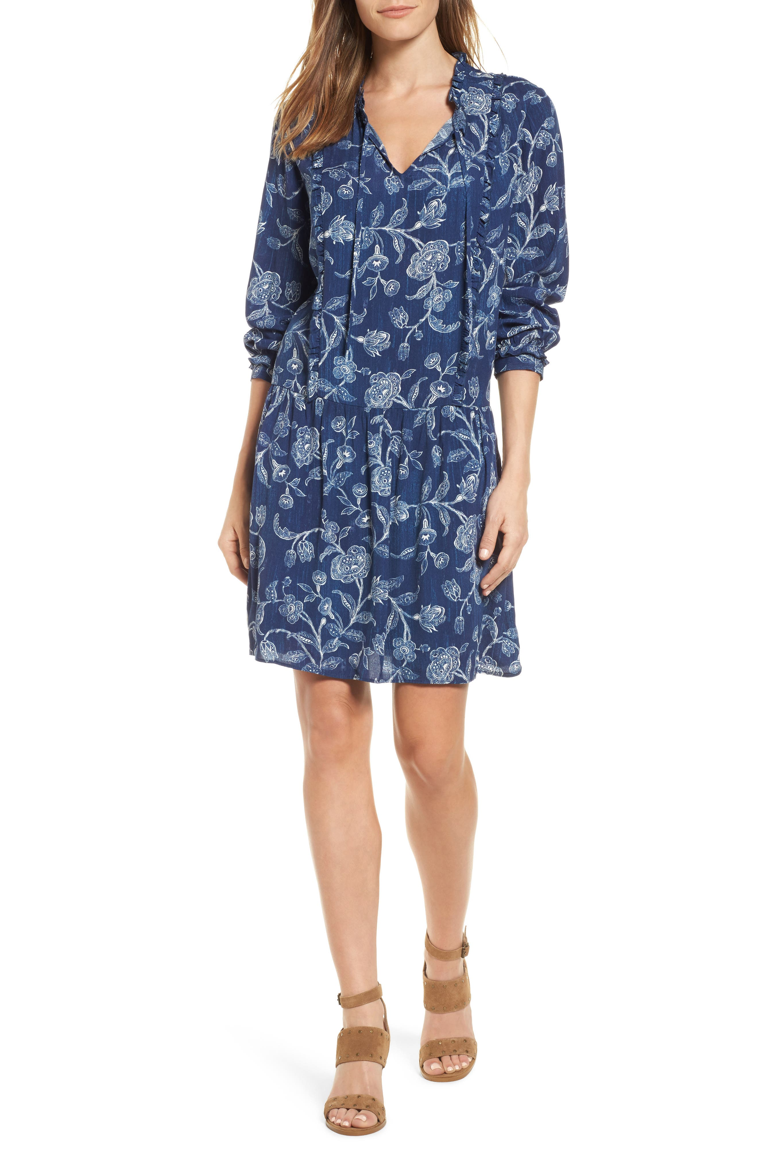 Alternate Image 1 Selected - Caslon® Ruffle Split Neck Dress (Regular & Petite)