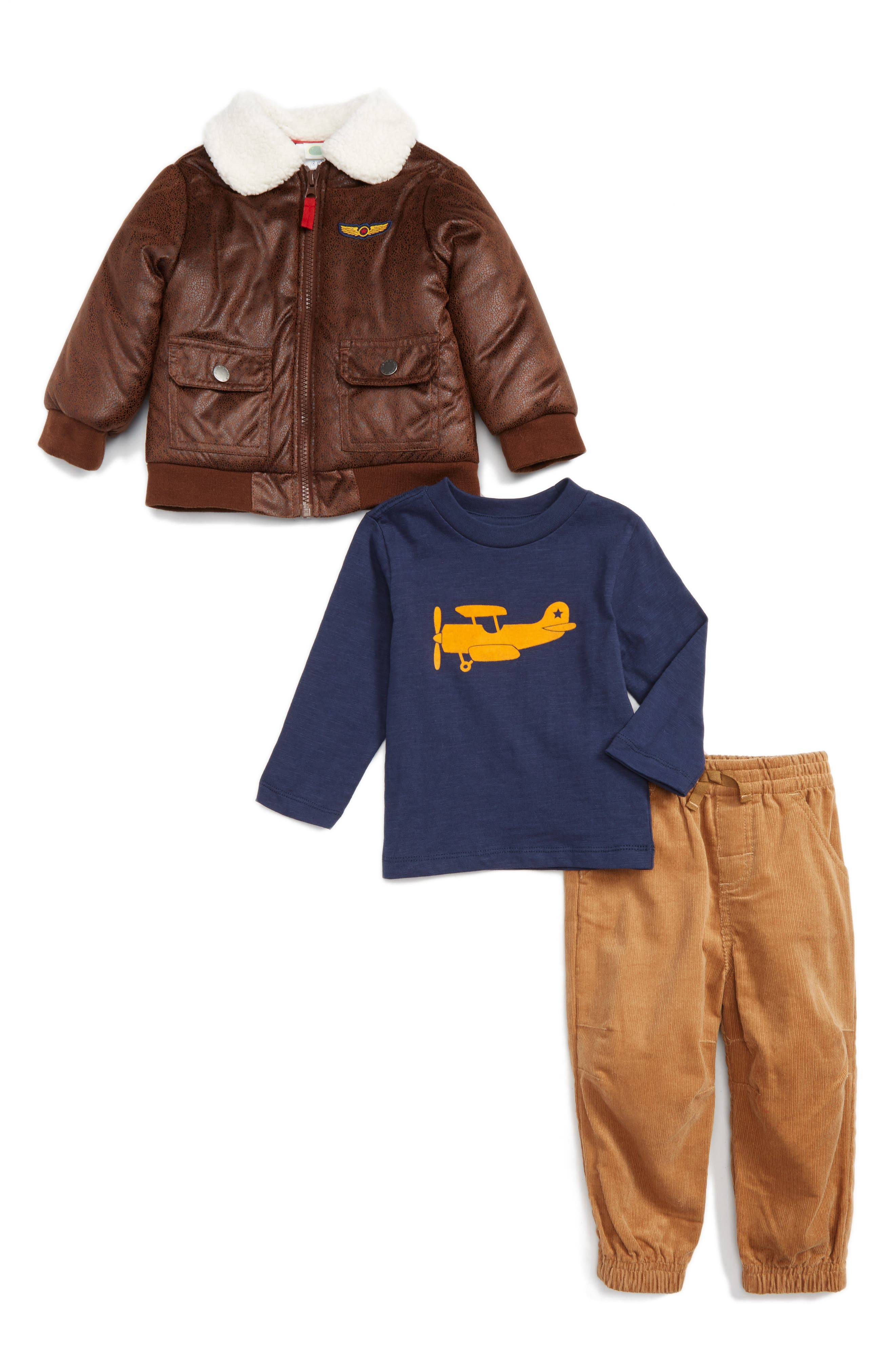 Little Me Aviator Bomber Jacket, Top & Pants (Baby)